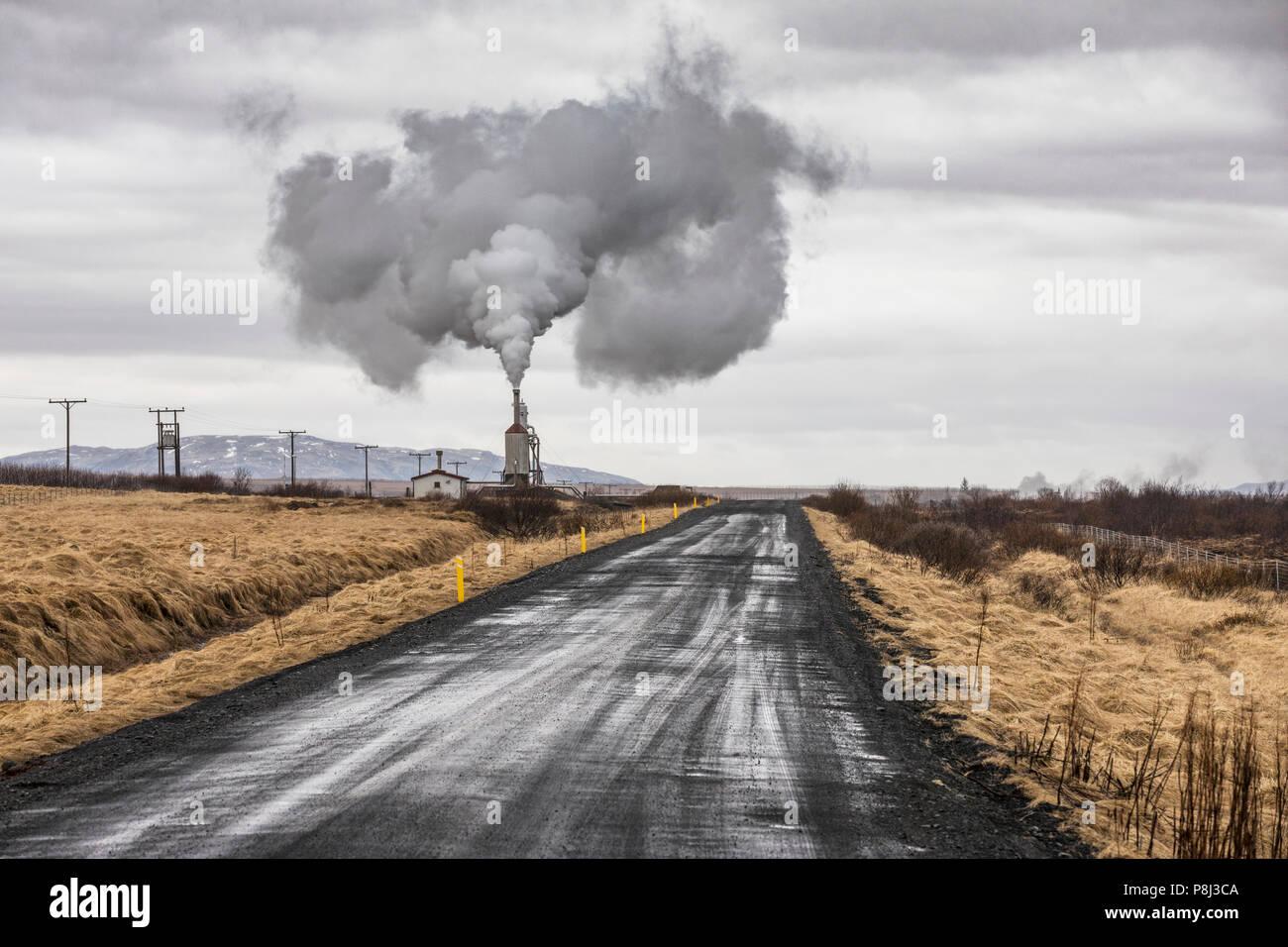 Stazione Elettrica Geotermica in Islanda vicino a Reykjavik Immagini Stock