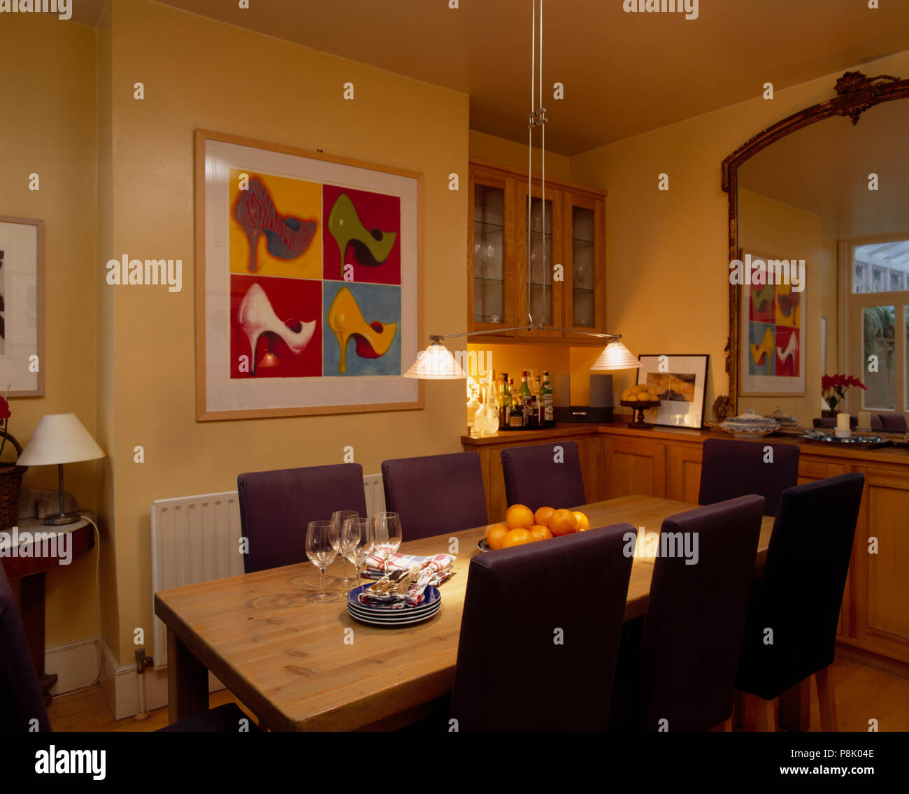 Dimensioni Tavolo Sala Da Pranzo lampade pensili sopra rettangolare tavolo in legno di colore