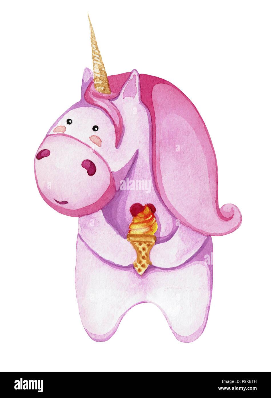Unicorno Rosa Con Gelato Isolati Su Sfondo Bianco Disegno Con
