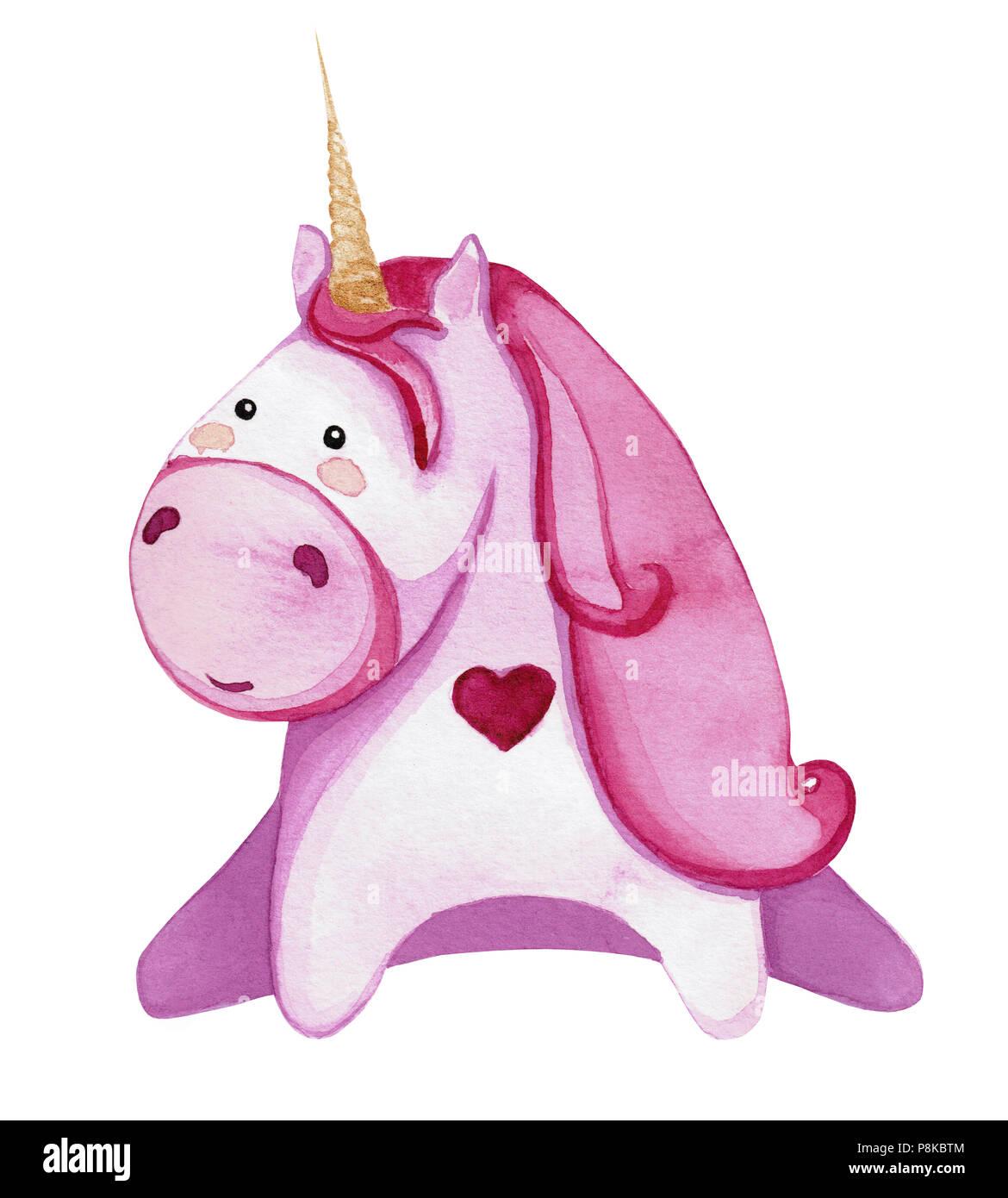 Pink Unicorn Isolati Su Sfondo Bianco Disegno Con Acquarello Foto