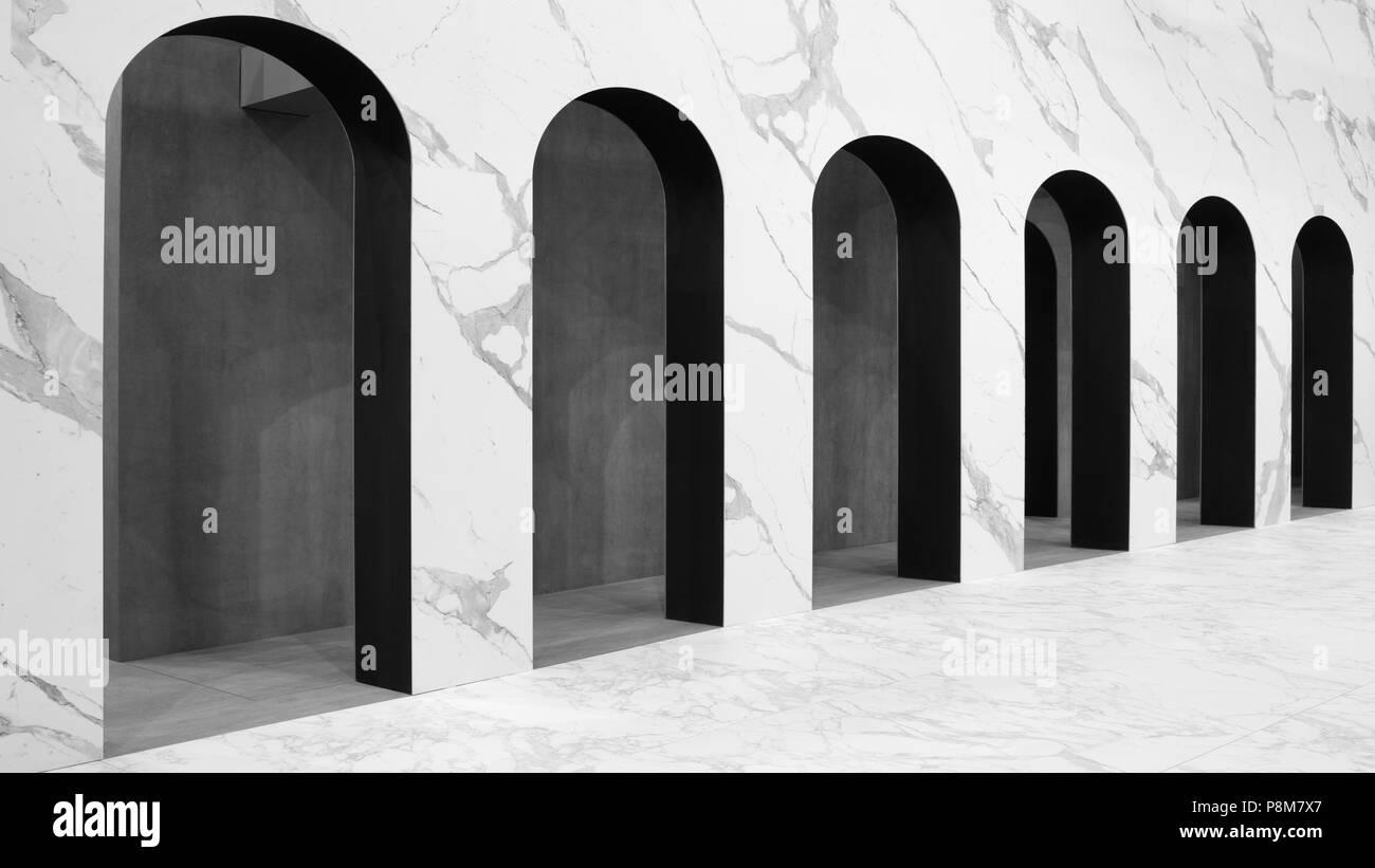 Moderno archi bianchi sfondo architettonico con prospettiva Foto Stock