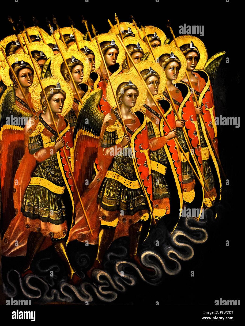 Schiera di angeli armati (Arcangeli ? ) Schiera di angeli armati (Arcangeli?) Guariento di Arpo (1310 - 1370), XIV secolo di pittore a Padova. Italia Italiano Immagini Stock