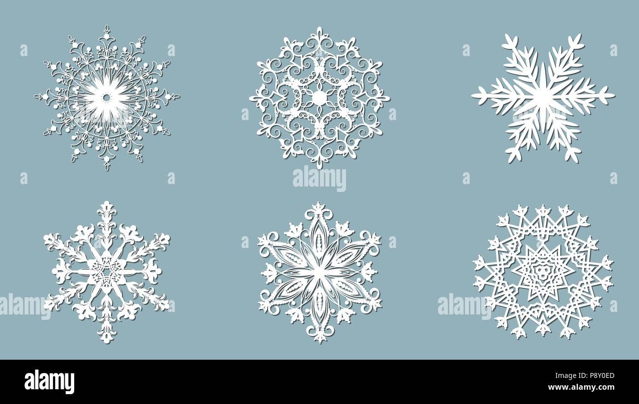 Set Di Fiocchi Di Neve Taglio Laser Pattern Per Carta Di Natale