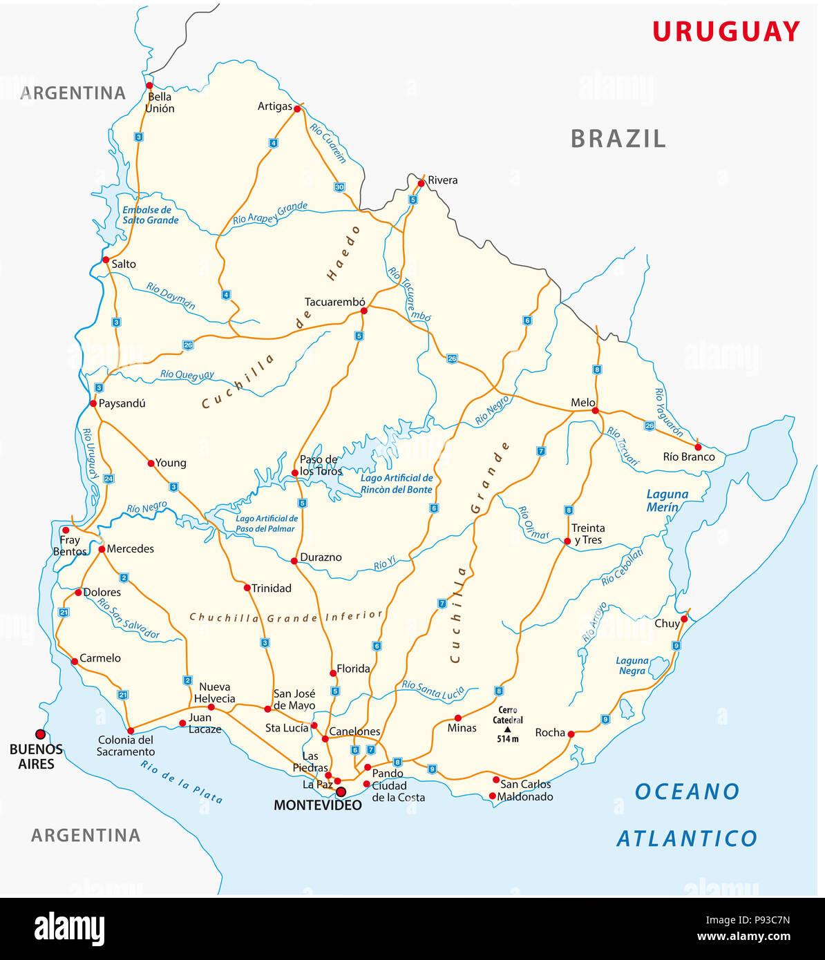 Repubblica orientale dell' Uruguay road mappa vettoriale. Immagini Stock