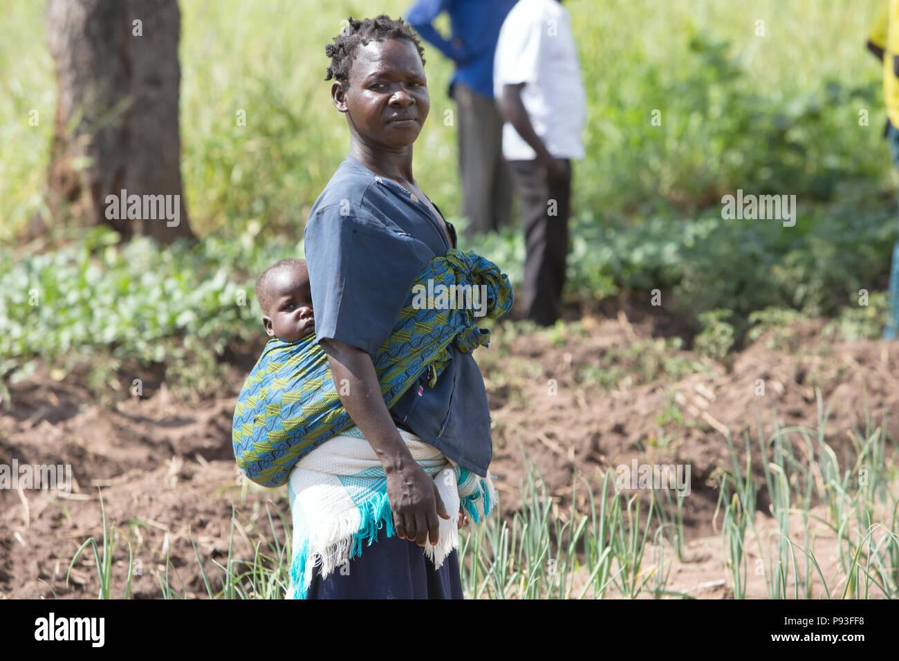 Adjumani, Uganda - National self-help progetto di aiuti umanitari organizzazione Welthungerhilfe. Immagini Stock