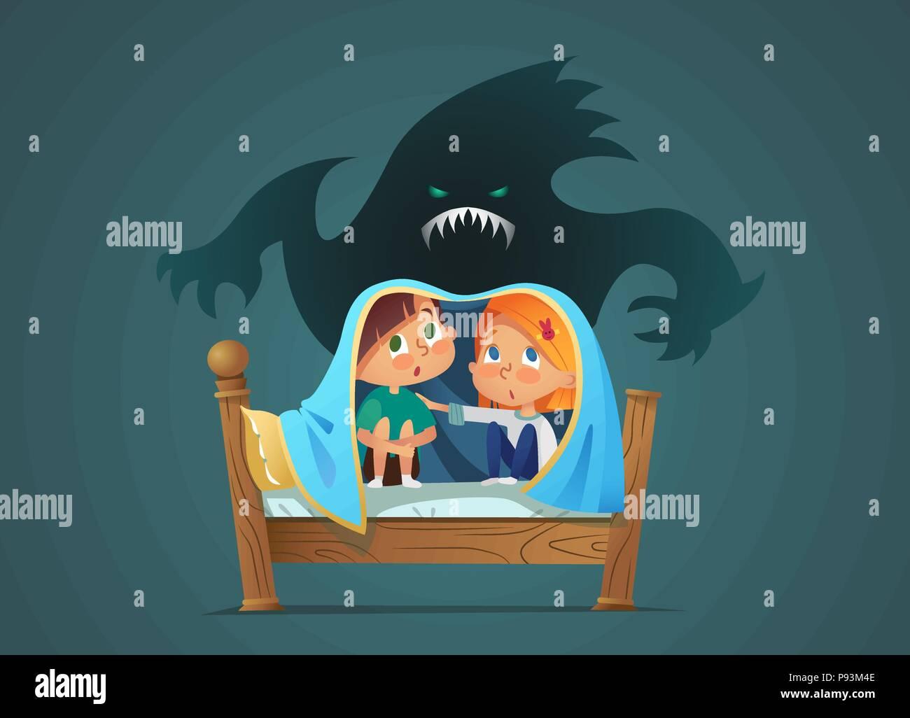 Coppia di paura bambini seduti sul letto e nascosto dalla