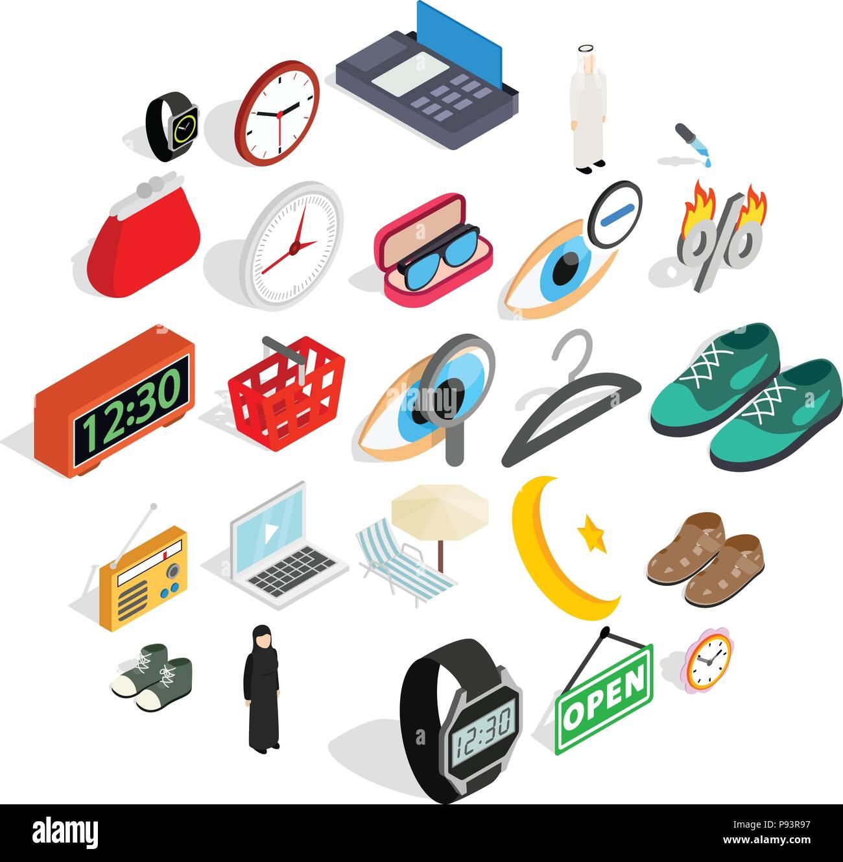 Il nome del marchio set di icone, stile isometrico Immagini Stock