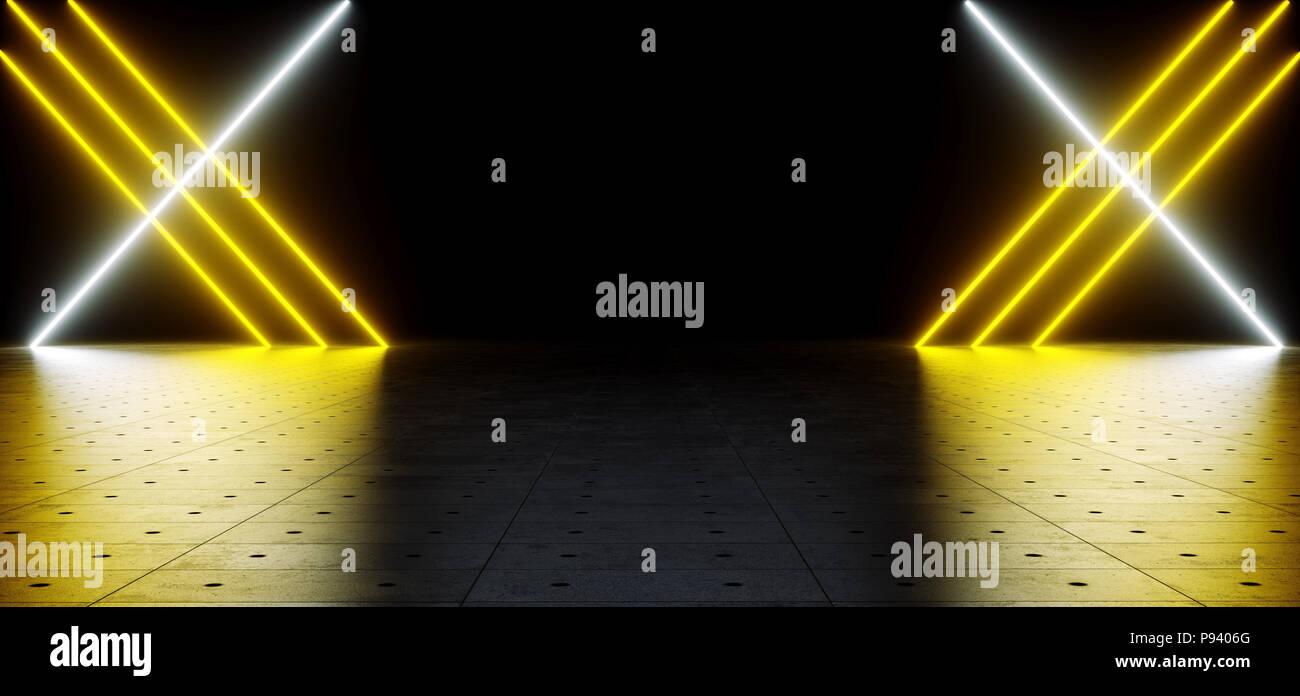 Il futuristico sci fi giallo e bianco tubo al neon incandescente