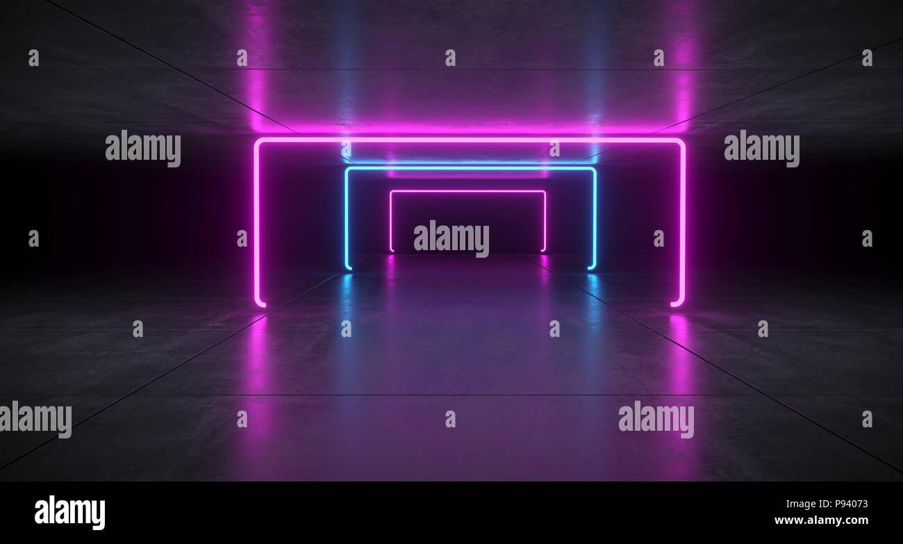 Il futuristico sci fi blu e viola il tubo al neon incandescente luci