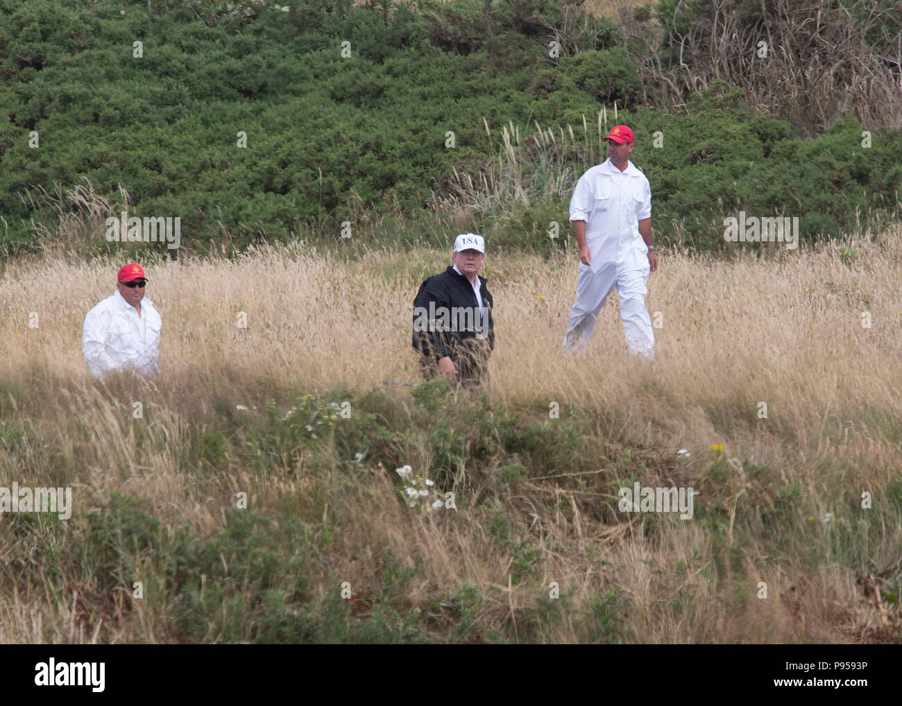 Presidente Donald Trump al Trump Turnberry Golf Resort in Ayrshire, in Scozia, Regno Unito Immagini Stock