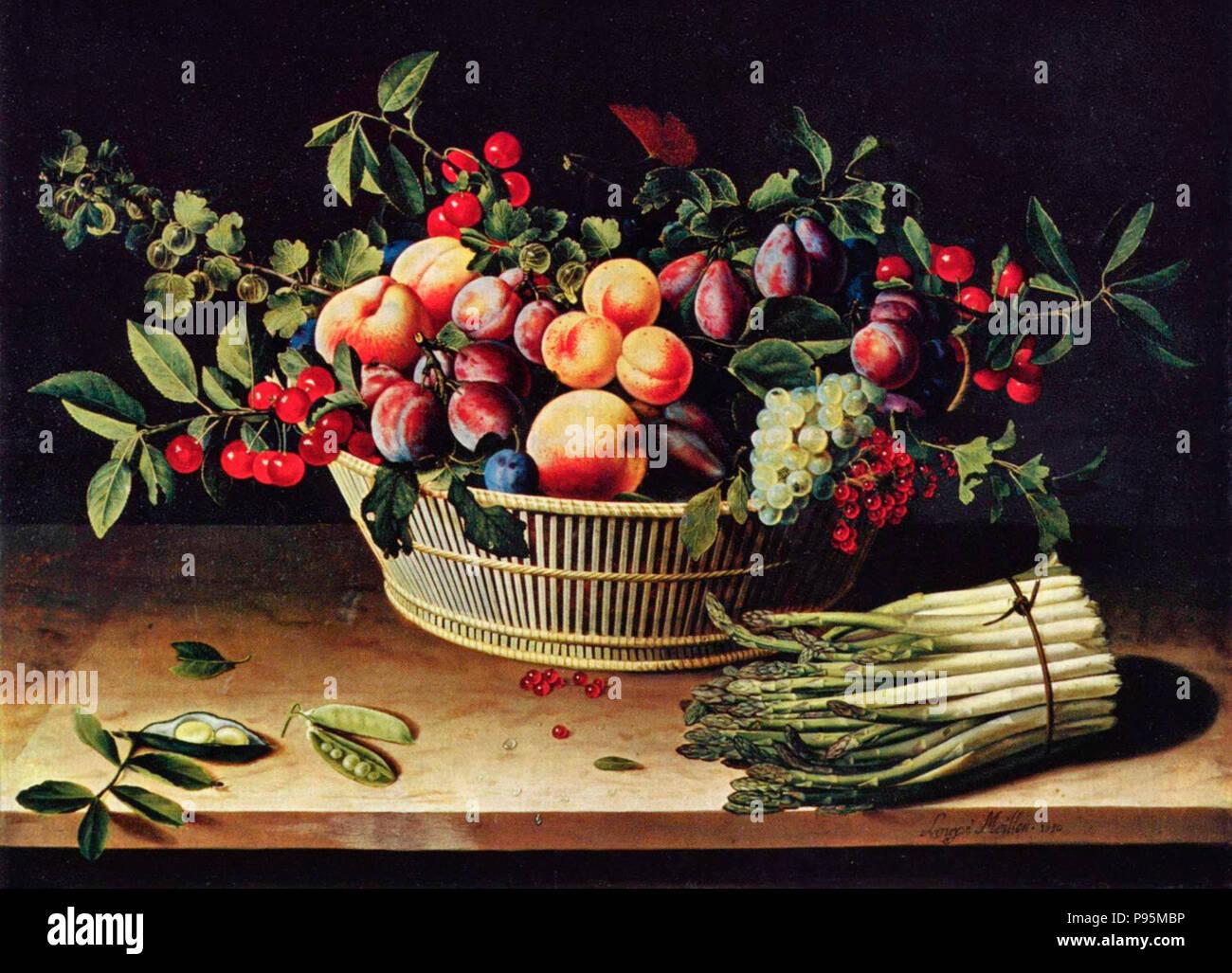 Ancora in vita con un cesto di frutta e un mazzetto di asparagi - Louise Moillon, circa 1630 Immagini Stock