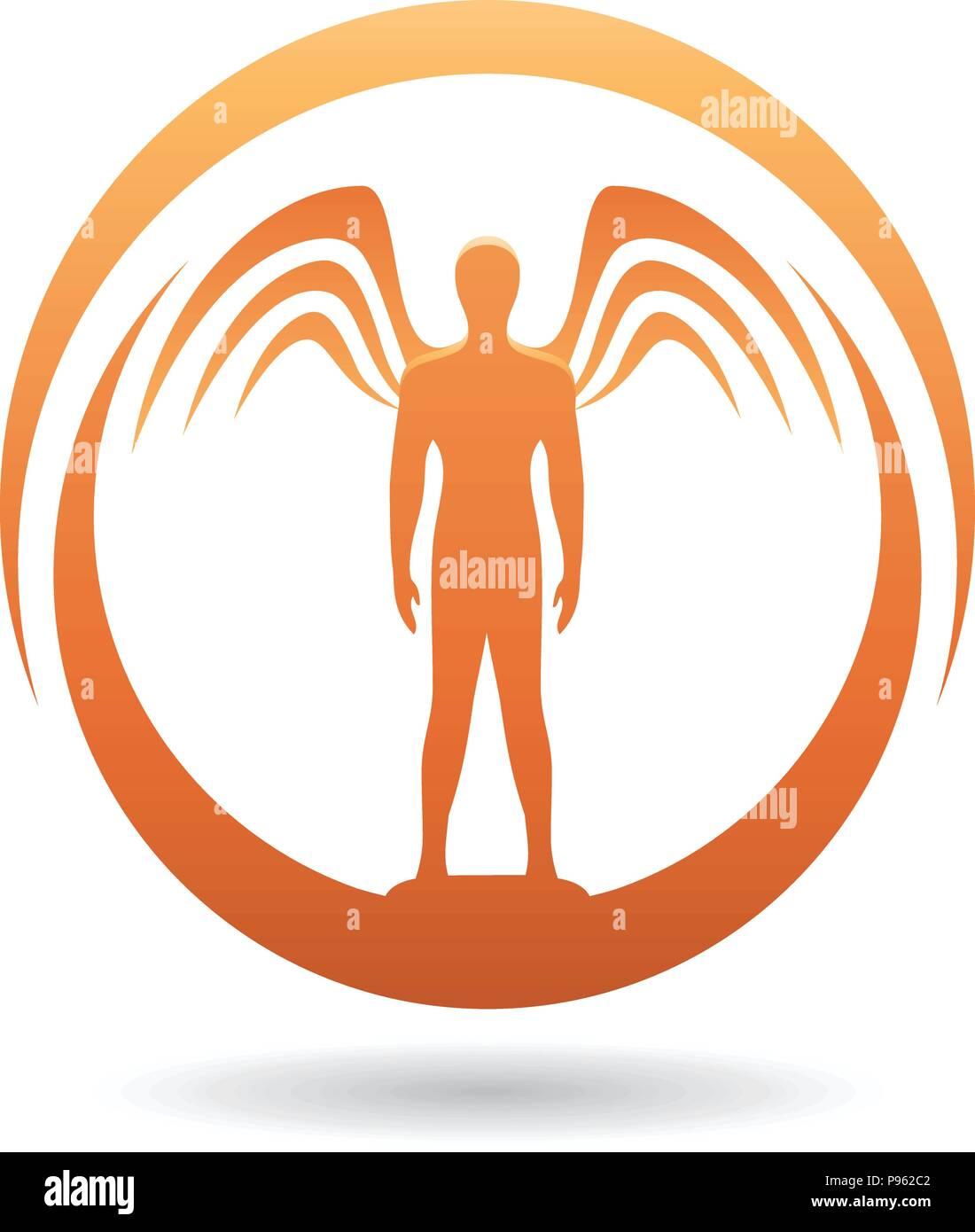 Illustrazione vettoriale di un uomo di colore arancione con icona di ... c646e7b23a97
