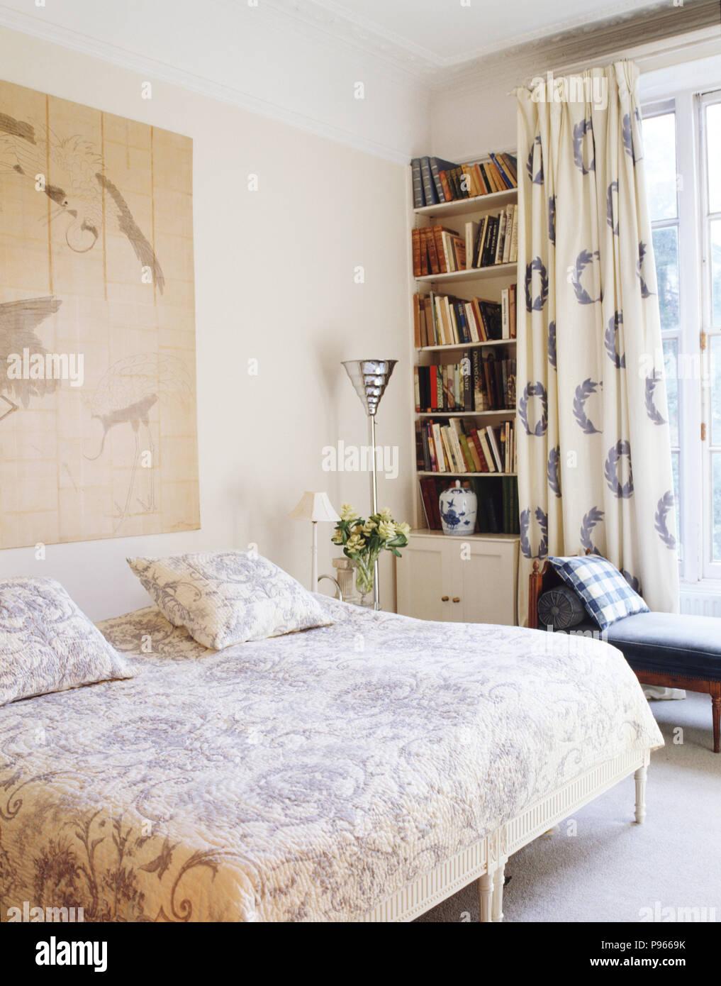 Blue+white Liberty Stampa tende e copriletto trapuntato in camera da ...