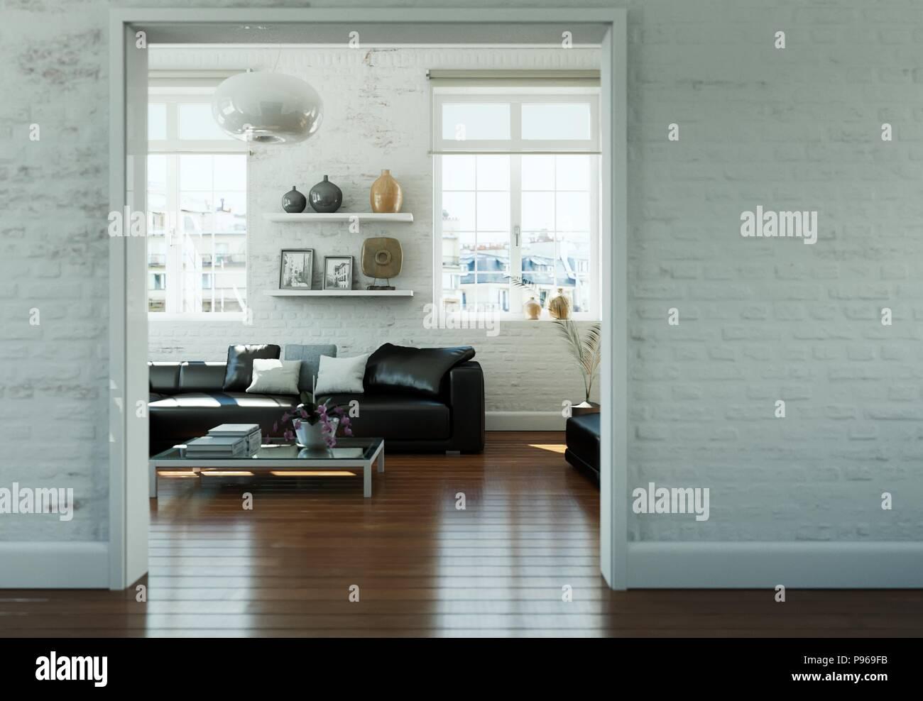 Divano Nero Moderno : Skandinavian moderno design interno soggiorno con il nero di