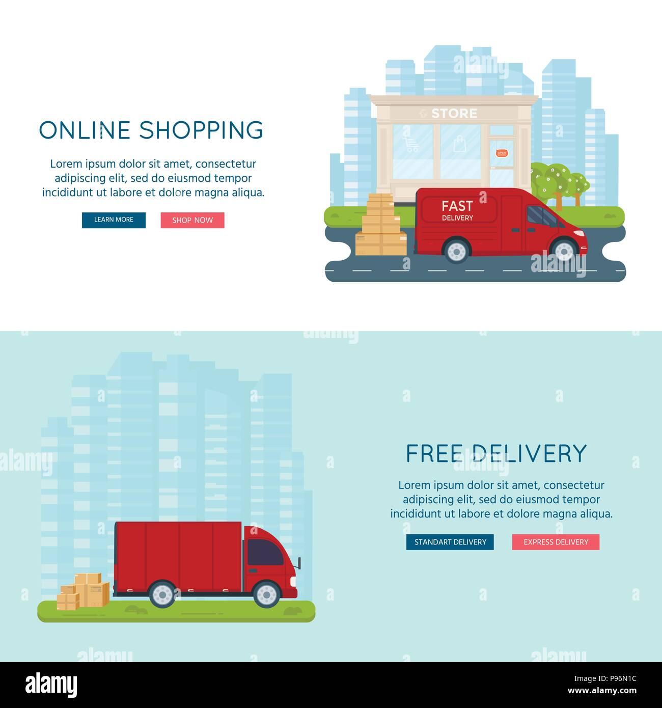 8d48b00bf1 La logistica e il servizio di consegna del concetto: carrello, autocarro,  furgone con store, il negozio e la città sullo sfondo. Servizio postale  banner ...