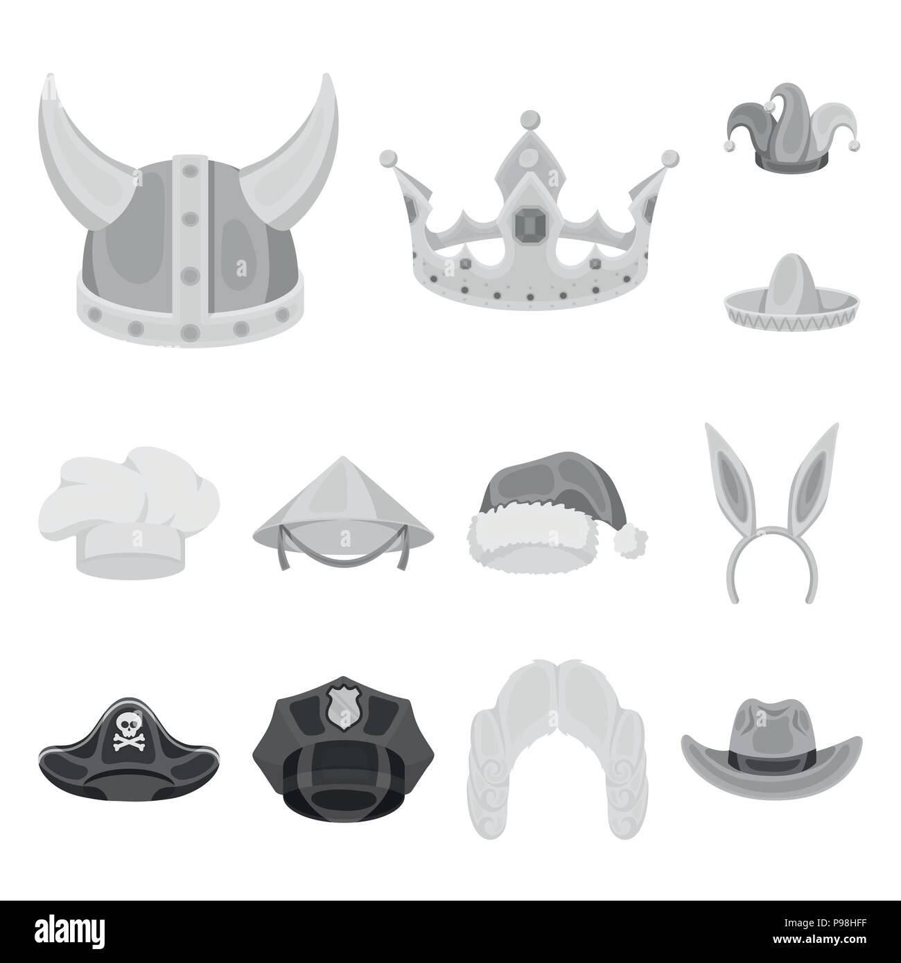 Diversi tipi di cappelli icone monocromatiche in set di raccolta per design.copricapo  simbolo vettore illustrazione stock. 80124bbd5085