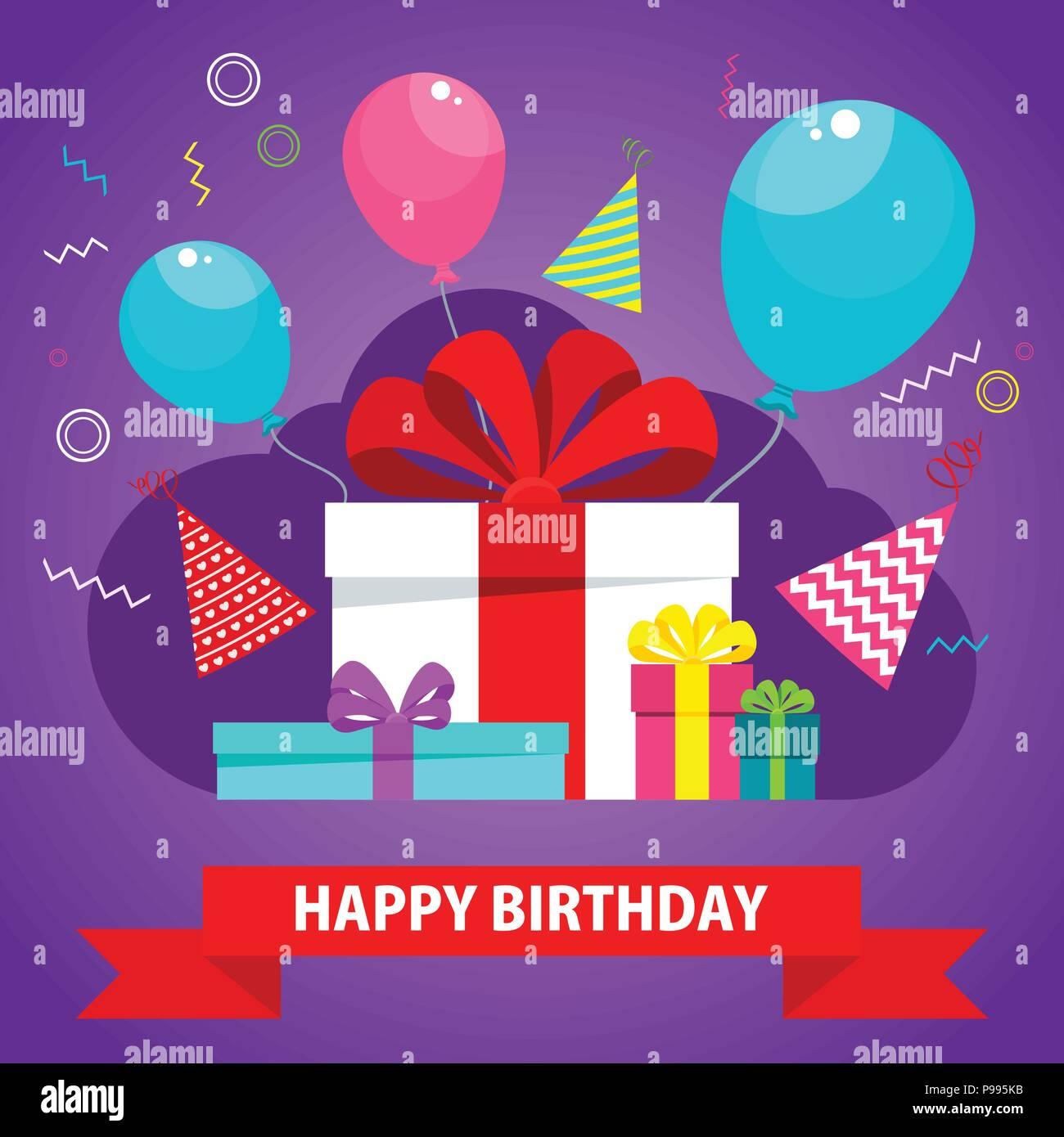 Biglietto di auguri di compleanno con confezione regalo violetta