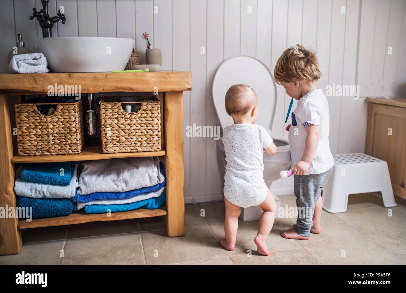 Toilette Da Bagno : Due bambini bimbi con uno spazzolino da denti in piedi da toilette