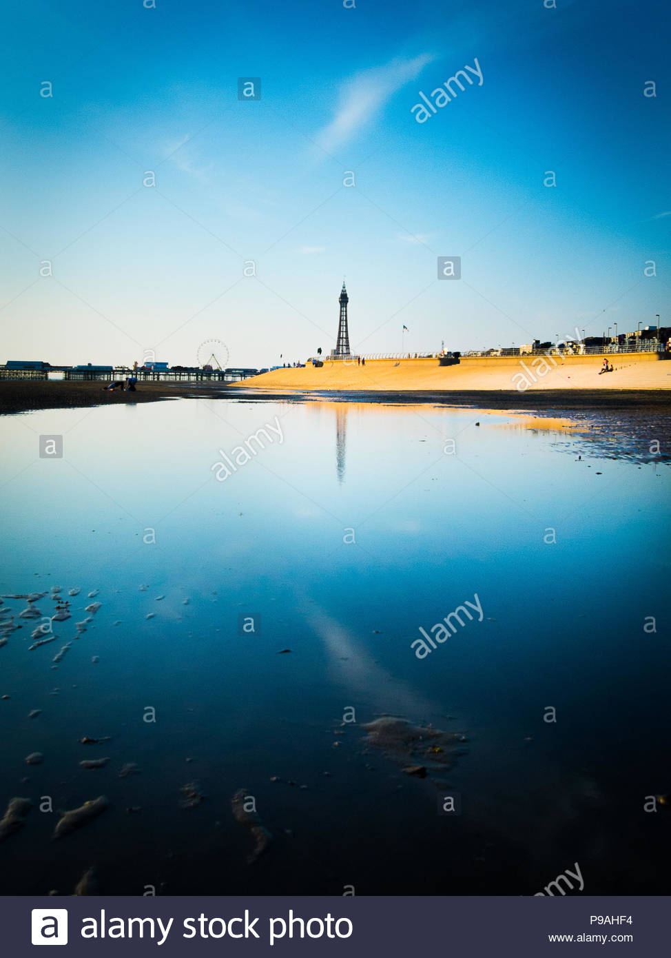 La Blackpool Tower riflessione Immagini Stock