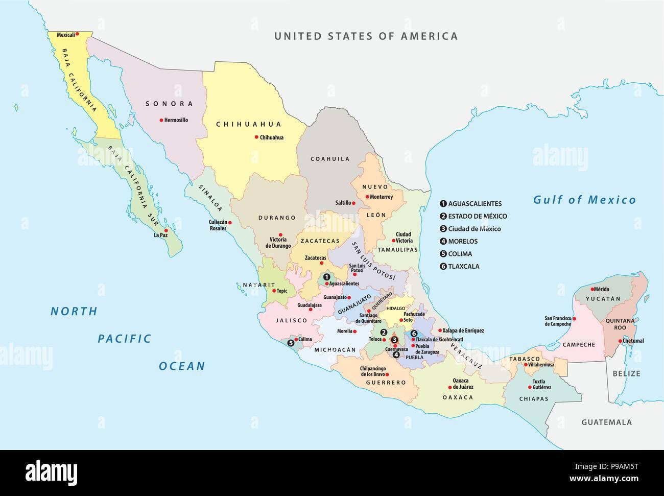 Cartina Dettagliata Messico.Messico Politica E Amministrativa Di Mappa Vettoriale Immagine E Vettoriale Alamy