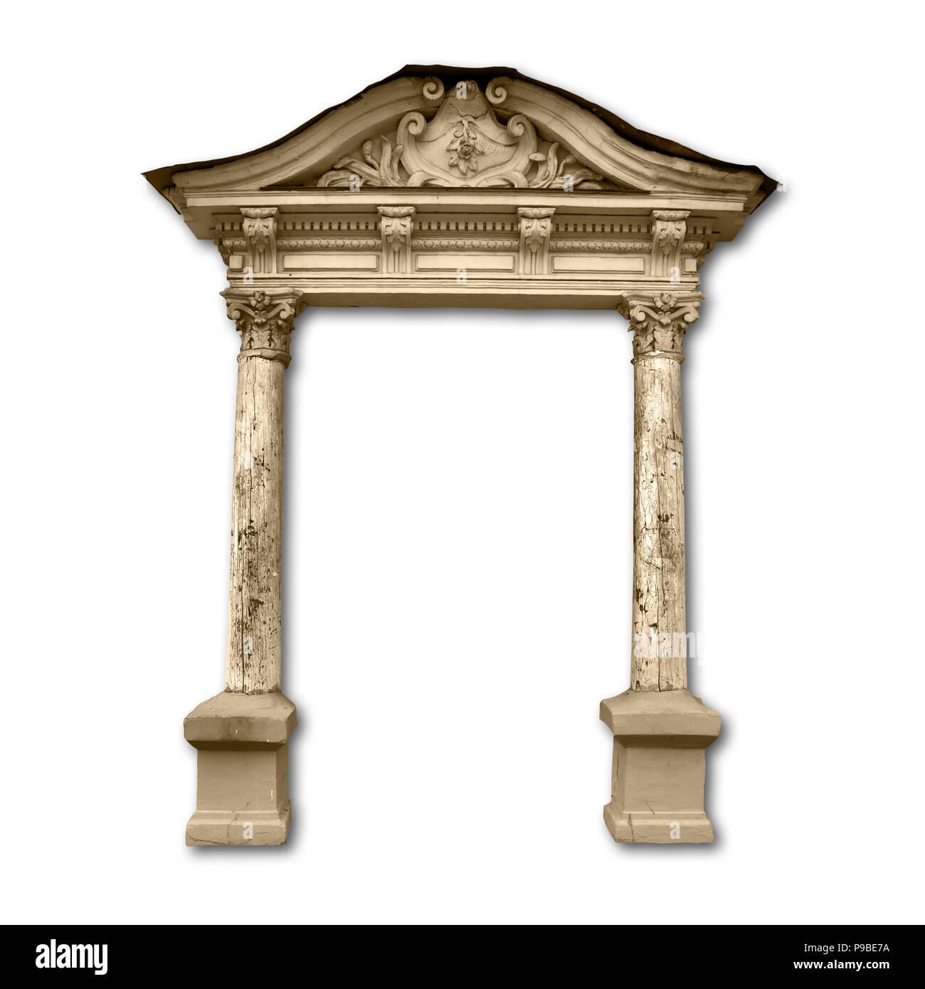Portico con colonne di legno con ombra isolati su sfondo bianco Foto ...