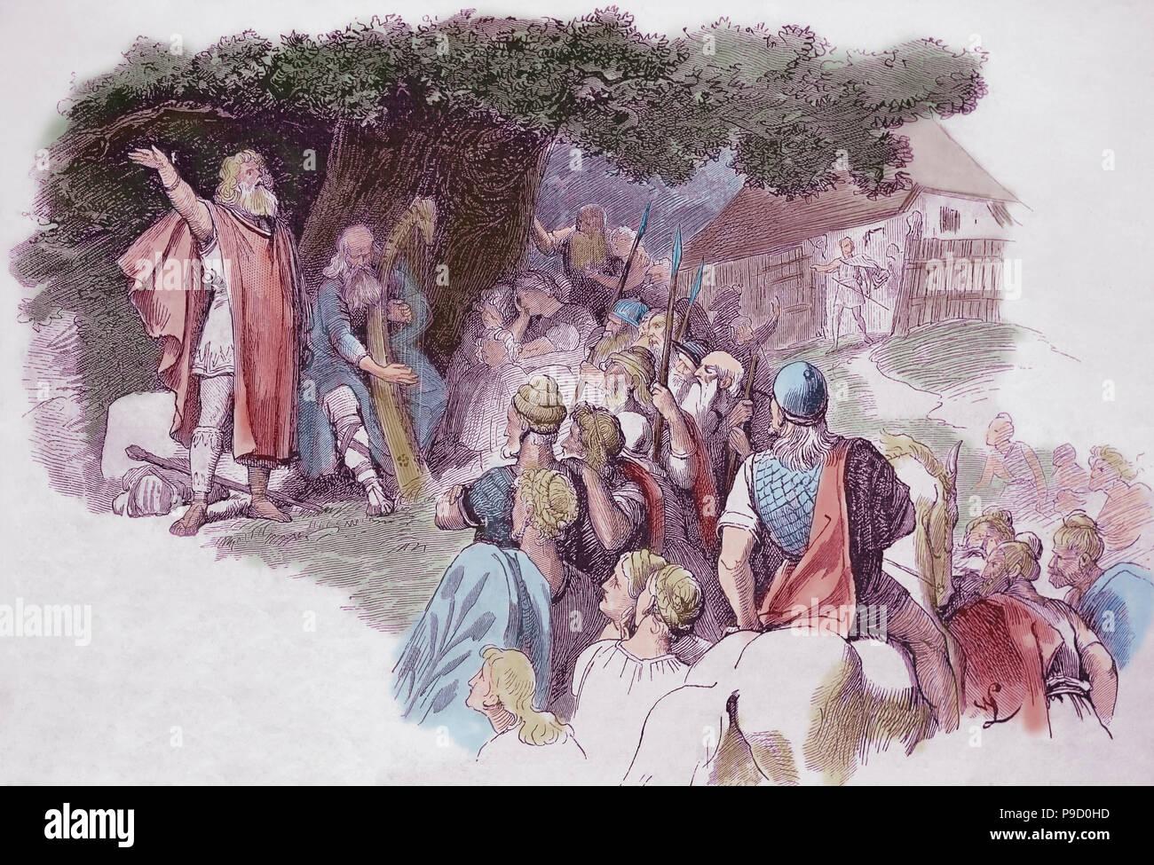 Bardi germanico (poeti). Incisione di germanio, 1882, colore. Immagini Stock