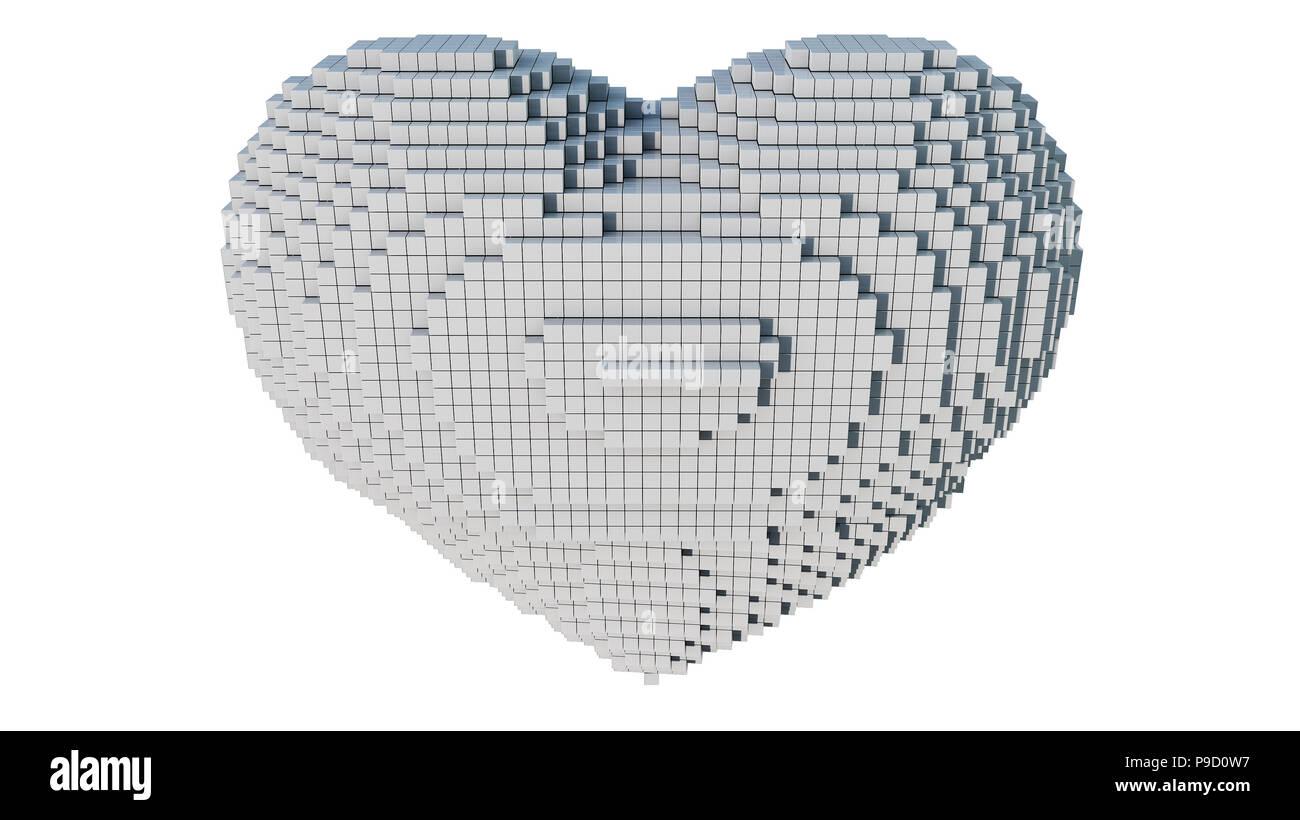 Un 3d Arte Pixel Illustrazione Di Un Cuore Con Sfondo Bianco Foto