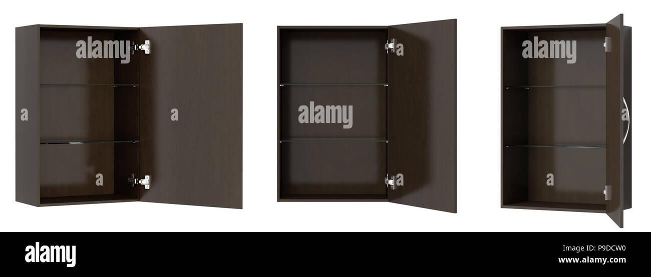 Viste Diverse Di Aprire Vuoto Marrone Scuro Armadio Bagno Isolato Su Bianco 3d Illustrazione Foto Stock Alamy