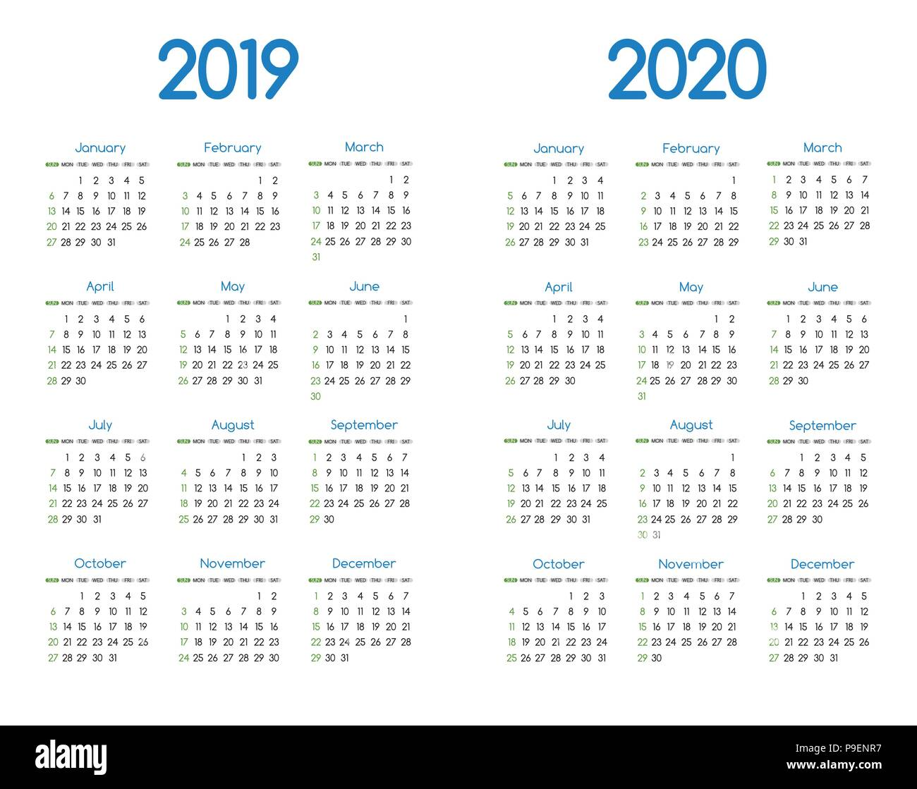 Calendario Dicembre 2019 E Gennaio 2020.Nuovo Anno 2019 E 2020 Calendario Vettore Moderno Design