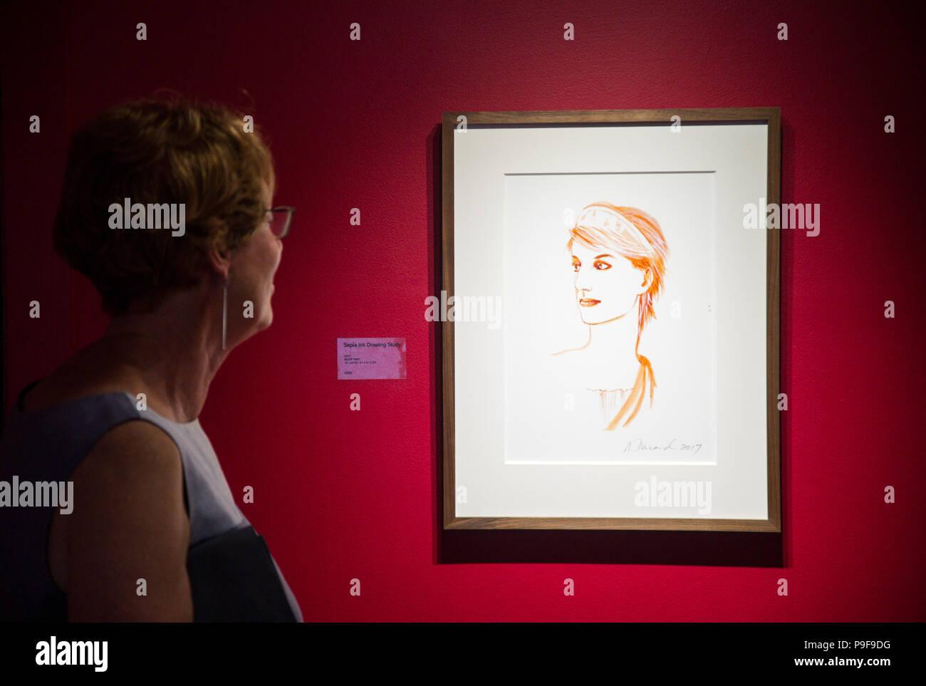La galleria di grano, Sherborne, Dorset, Inghilterra. Il 29 giugno 2018. La visualizzazione privata prima della inaugurazione di André Durand di allegorie, DURAND DIANA DORSET allegorie. Le allegorie, dipinta in St James il Grande, Longburton, sono dedicati alla memoria di Lady Diana, principessa di Galles. Da raffigurante la principessa come greco-romana dea Diana, dopo che ella è stato dato il nome di persona storica è metamorfosati di uno del mito. L'esoterismo e dimensioni mitologico delle allegorie sono ulteriormente evocata dal Cerne Abbas Giant e la sua antica allineamento con la costellazione di Orione, insieme con Immagini Stock