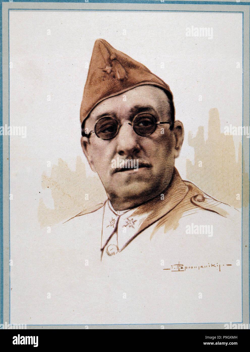 José Moscardó (1878-1956), militare spagnola, litografia. Immagini Stock