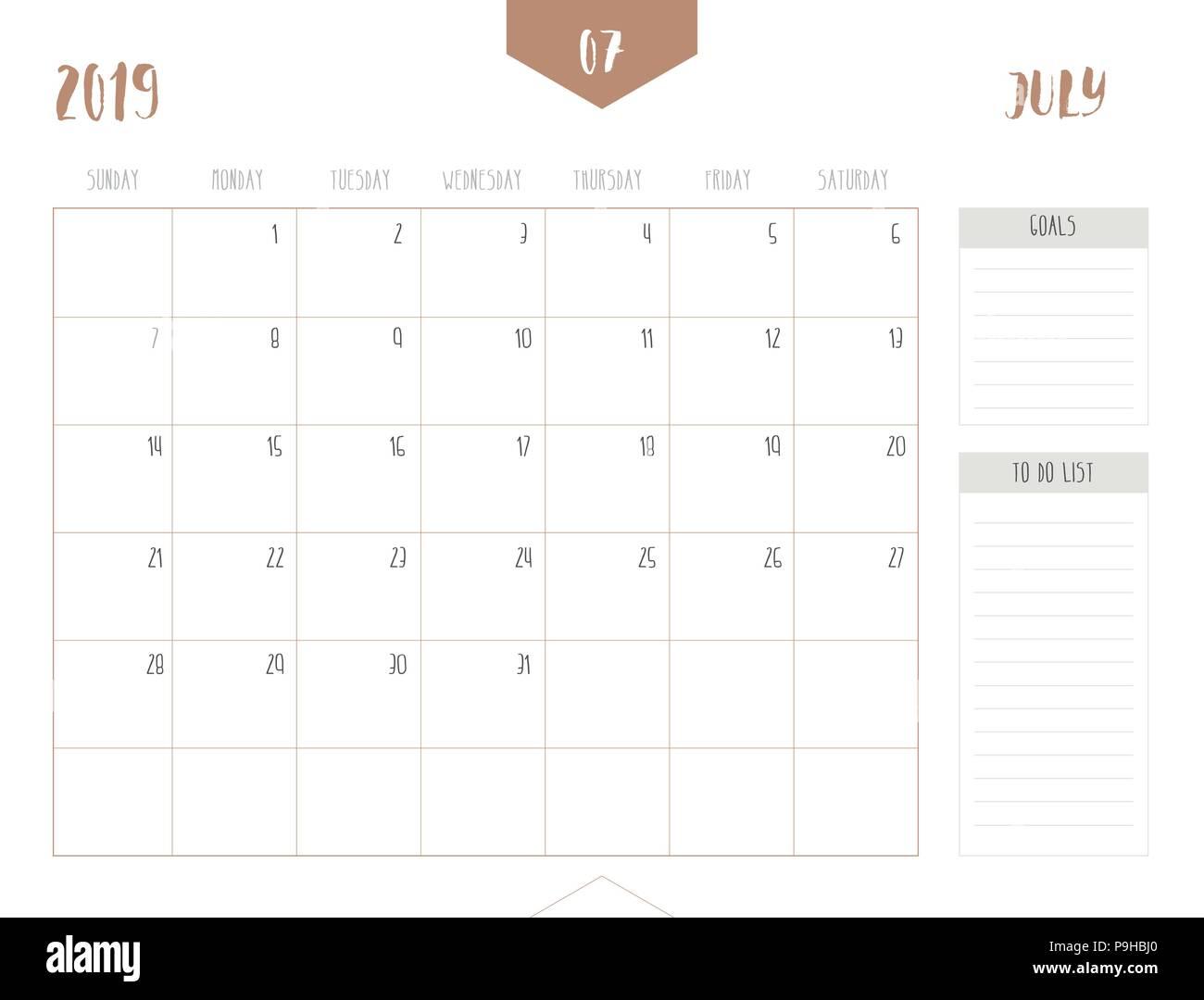 July 2019 Calendar Immagini July 2019 Calendar Fotos Stock Alamy