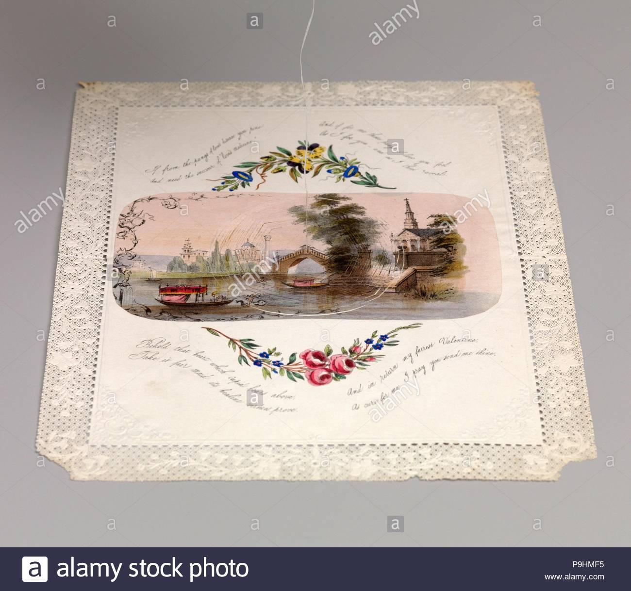 Disegni e Stampe, Valentino, doppia ragnatela valentine con scena veneziana, artista anonimo, britannici del XIX secolo, anonimo, 1800, 1899, 1830-50, 1830, 1850, litografia. Immagini Stock