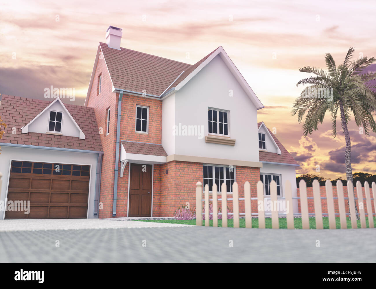 3D illustrazione di una casa in una giornata di sole con cielo blu e alcune nuvole. Immagini Stock