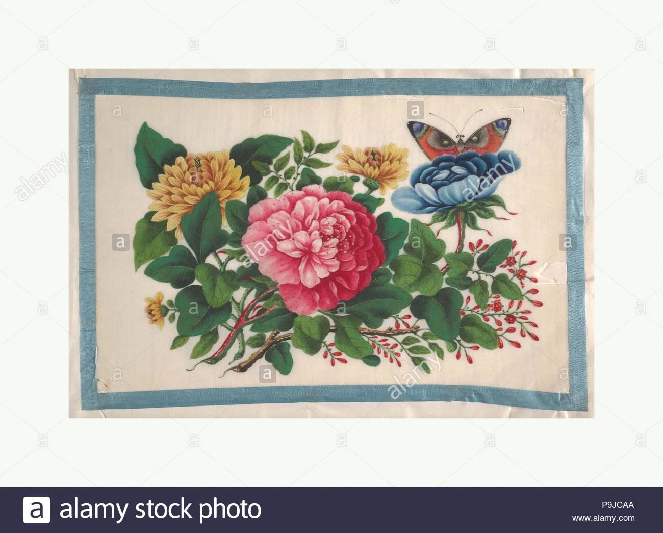 Album contenente dodici quadri di fiori, secolo XIX, Cina, Album di ...