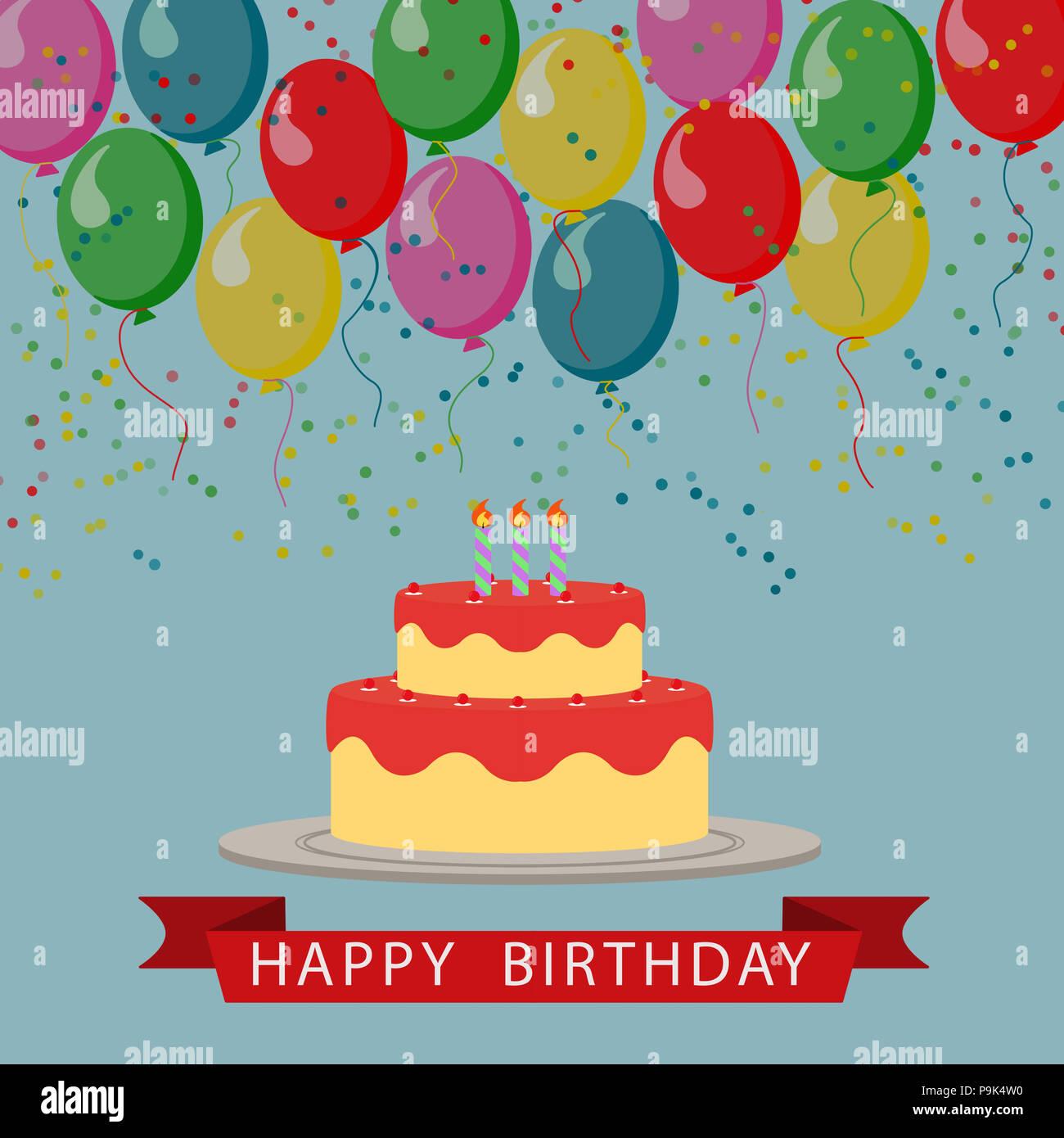 Illustrate Il Disegno Di Una Torta Di Compleanno Con Palloncini E Un