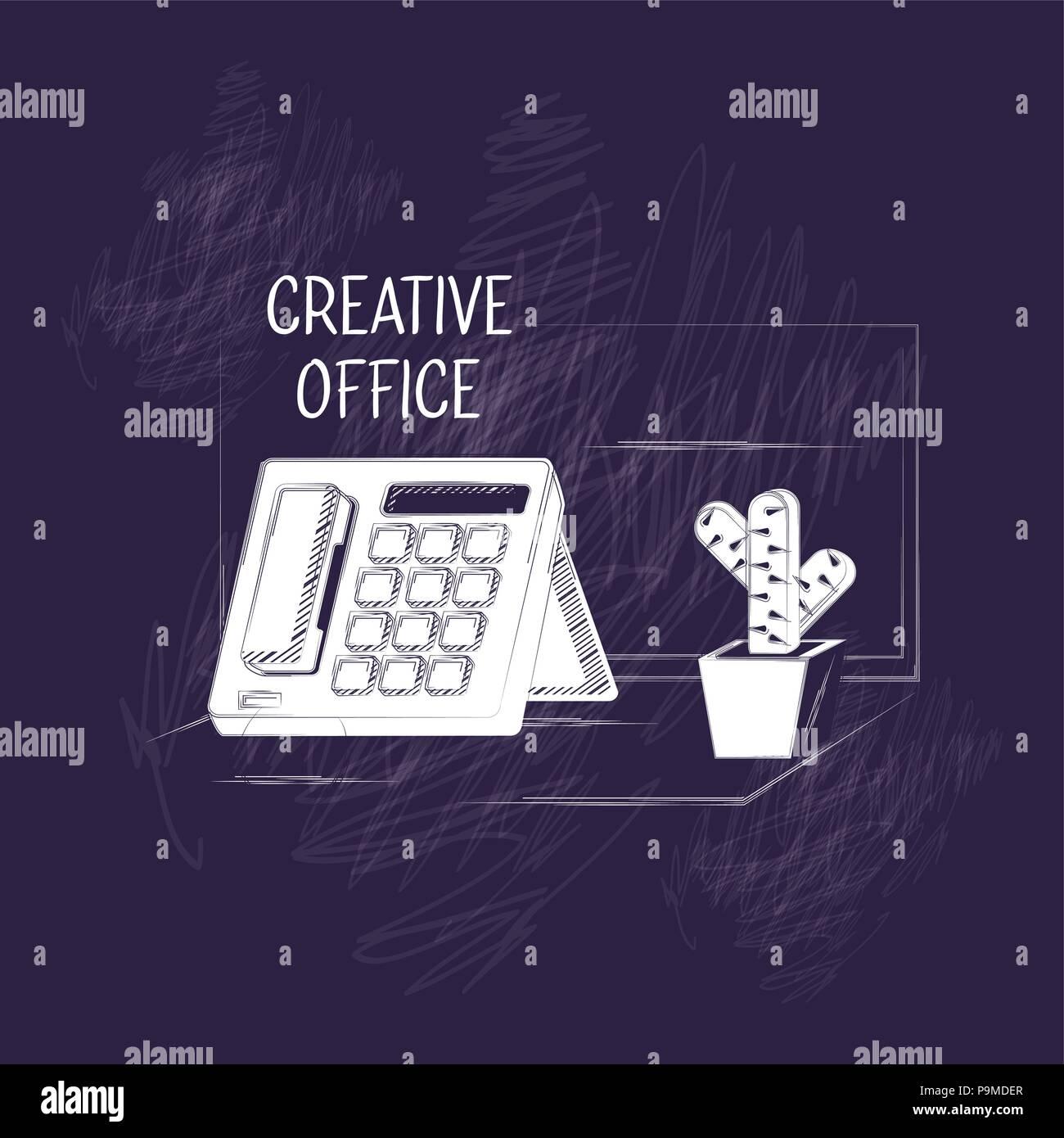 Creative Design Per Ufficio Con Telefono E Cactus Icona Pot Su