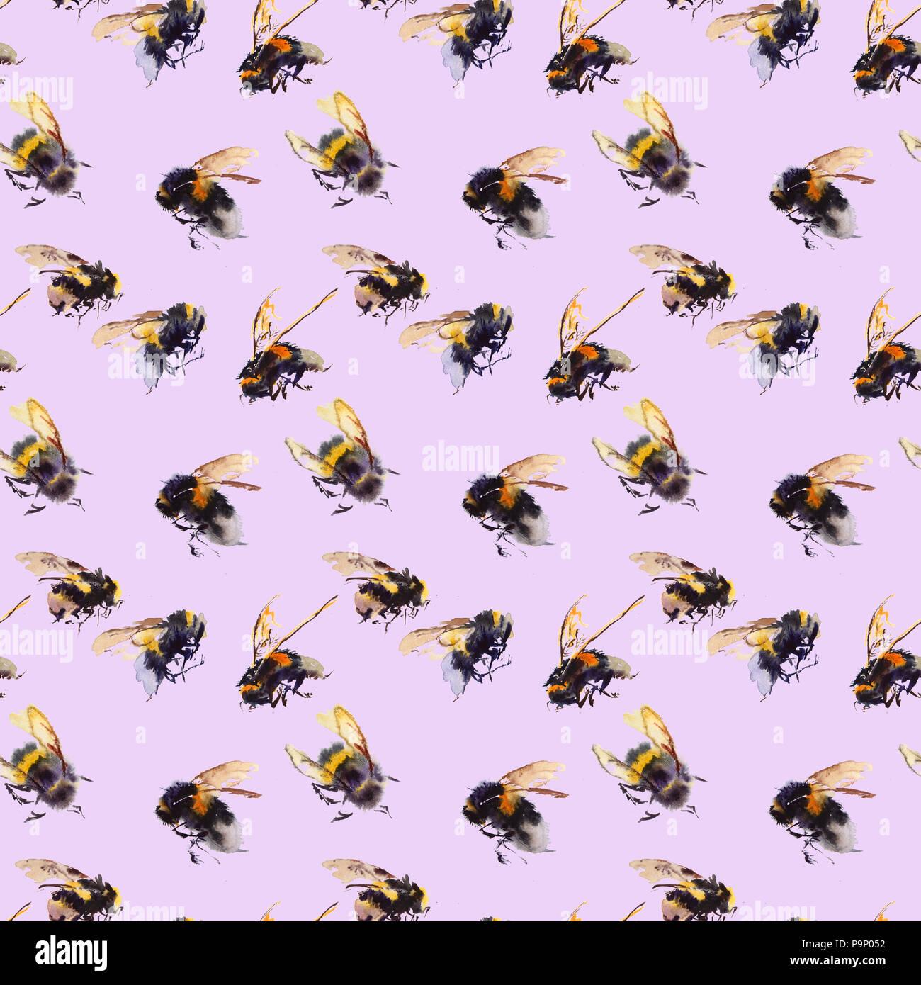 Acquerello api seamless pattern isolati su sfondo bianco. disegnati a mano illustrazione ad acquerello Immagini Stock