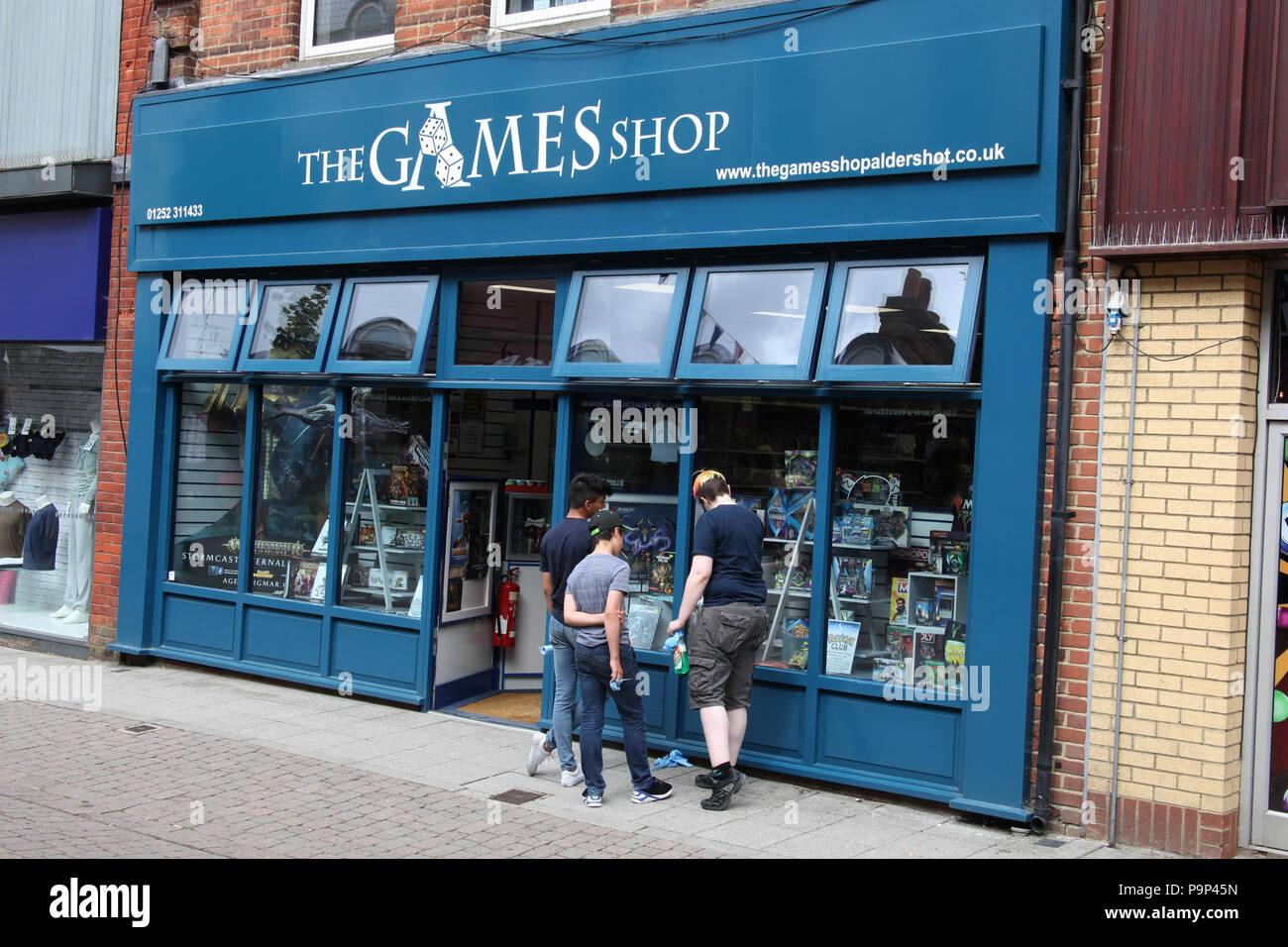 Il negozio di giochi, Aldershot, Regno Unito. Immagini Stock