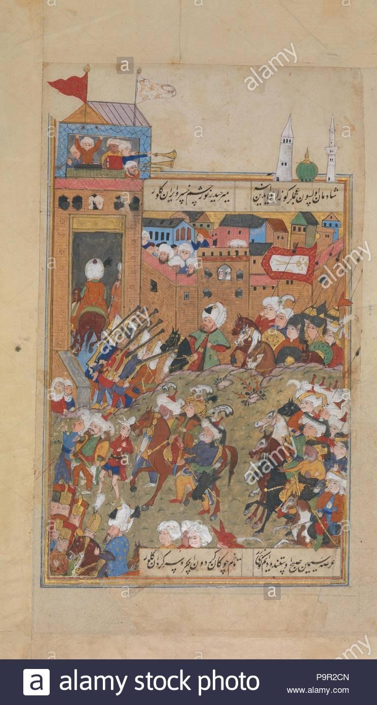 Il Divano Di Istanbul.L Esercito Ottomano Entrando In Una Citta Folio Da Un Divano Di