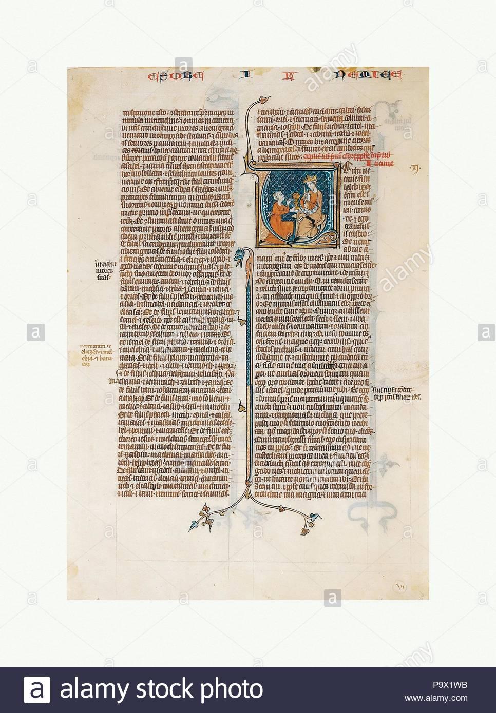 Manoscritto Anta Con Apertura A Libro Di Nehemias Da Una Bibbia Ca