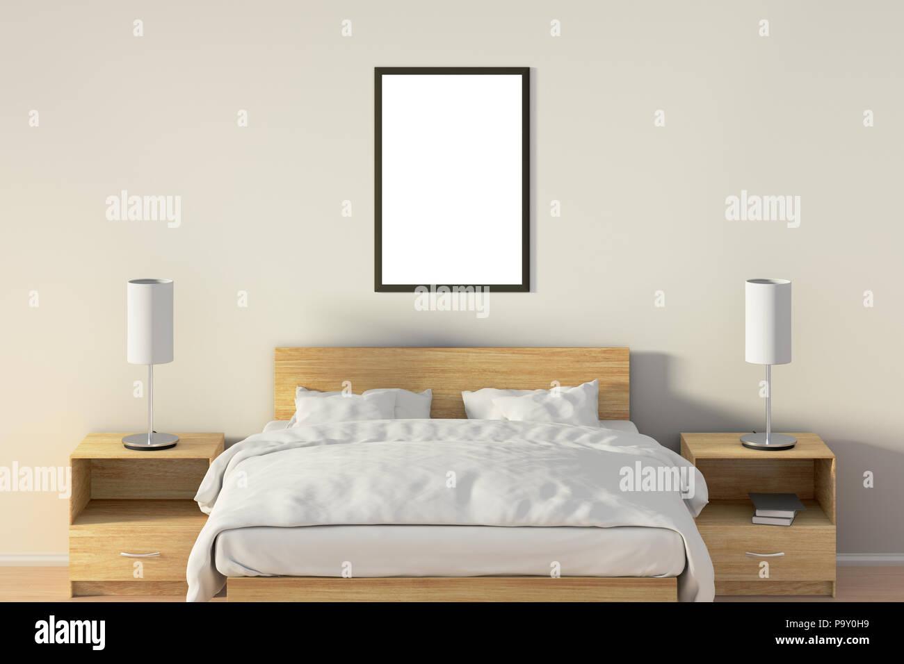 Vuoto poster verticale in camera da letto su letto di legno. Isolato ...