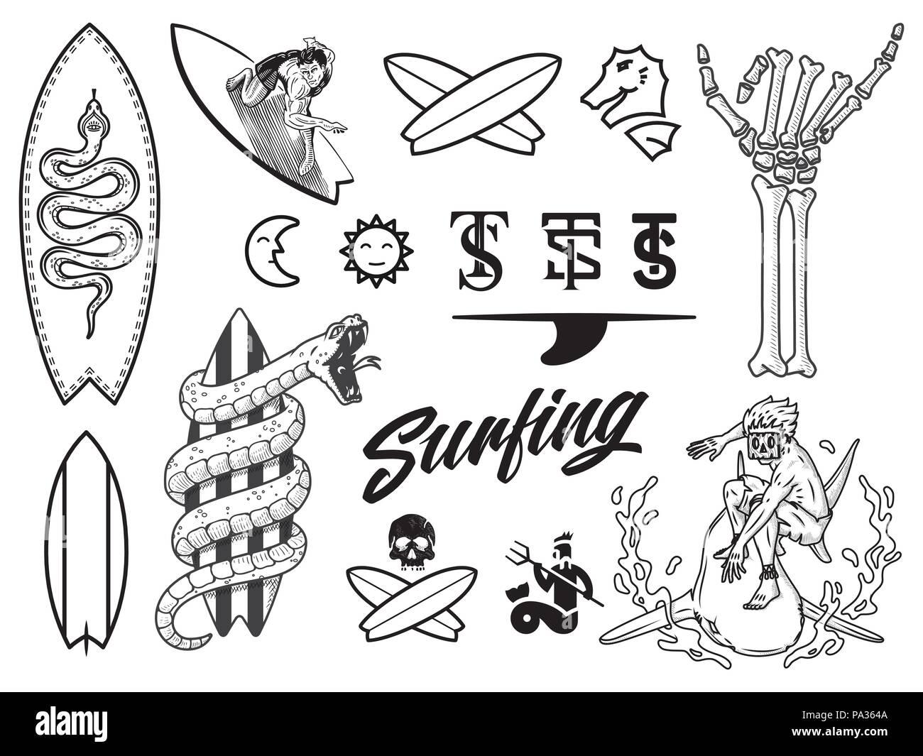 Disegno Nero Su Bianco.Pacchetto Surf Nero Su Bianco E Una Illustrazione Vettoriale