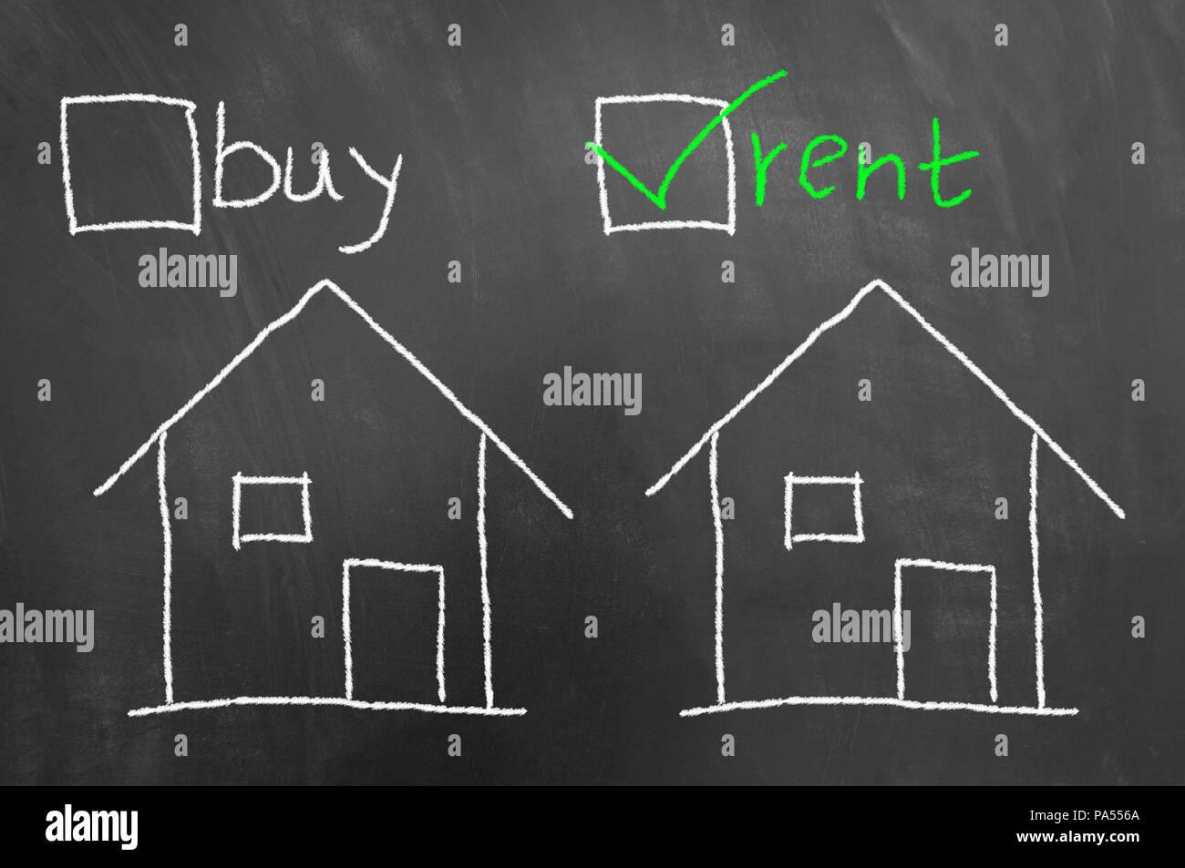 Comprare casa in affitto chalk disegno sulla lavagna a fogli mobili ...