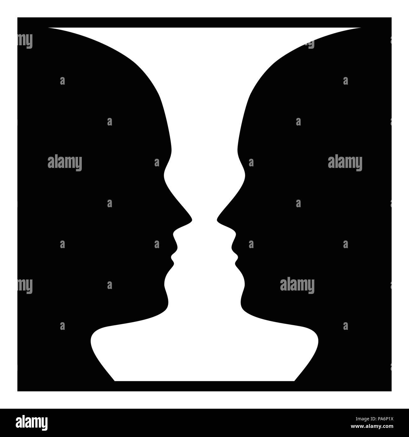La figura di percezione di massa per il viso e per il vaso. La figura-organizzazione di massa. Raggruppamento percettivo. In psicologia della Gestalt individuando una figura da sfondo. Immagini Stock
