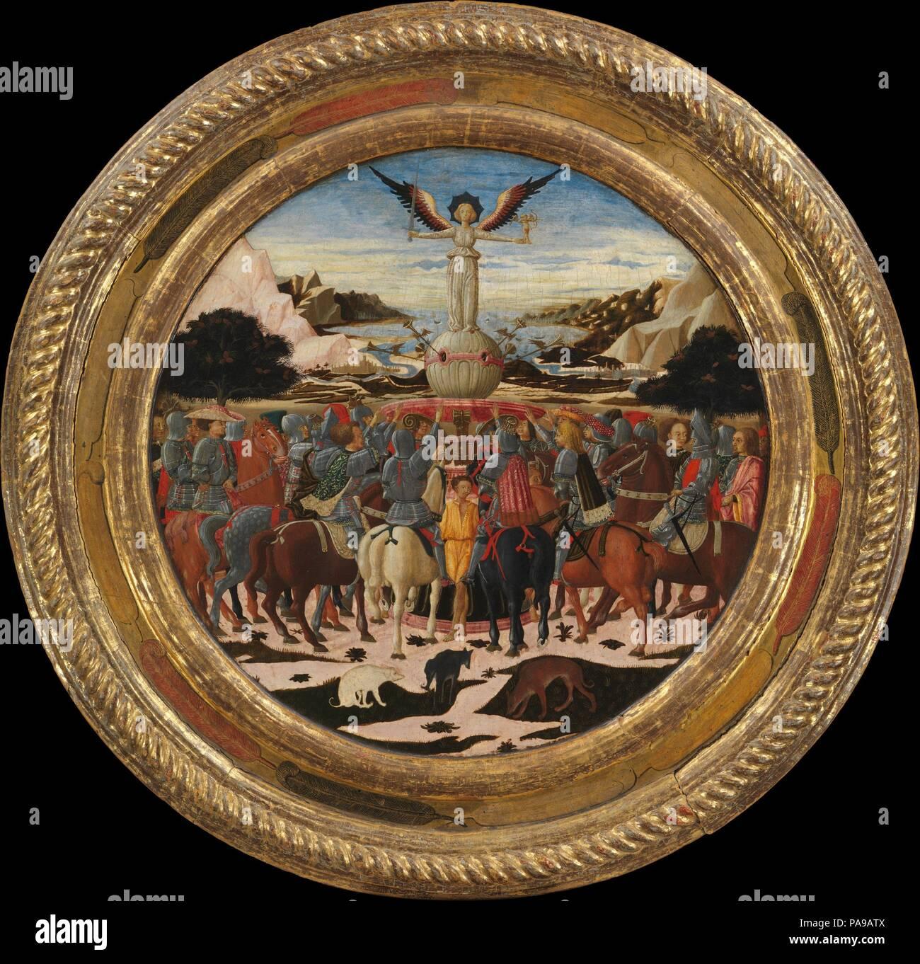 Il Trionfo della Fama; (retromarcia) Impresa della famiglia dei Medici e dei bracci dei medici e famiglie Tornabuoni. Artista: Giovanni di ser Giovanni Guidi (chiamato Scheggia) (italiano, San Giovanni Valdarno Firenze 1406-1486). Dimensioni: complessivamente, con telaio impegnato, diametro 36 1/2 in. (92,7 cm); recto, superficie dipinta, diametro 24 5/8 in. (62,5 cm); verso, superficie dipinta, diametro 29 5/8 in. (75,2 cm). Data: ca. 1449. Questa nascita commemorativa vassoio (<i>desco da parto</i>) celebra la nascita di Lorenzo de' Medici (1449-1492), il più celebre dominatore della sua giornata come pure un poeta importante e una m Foto Stock