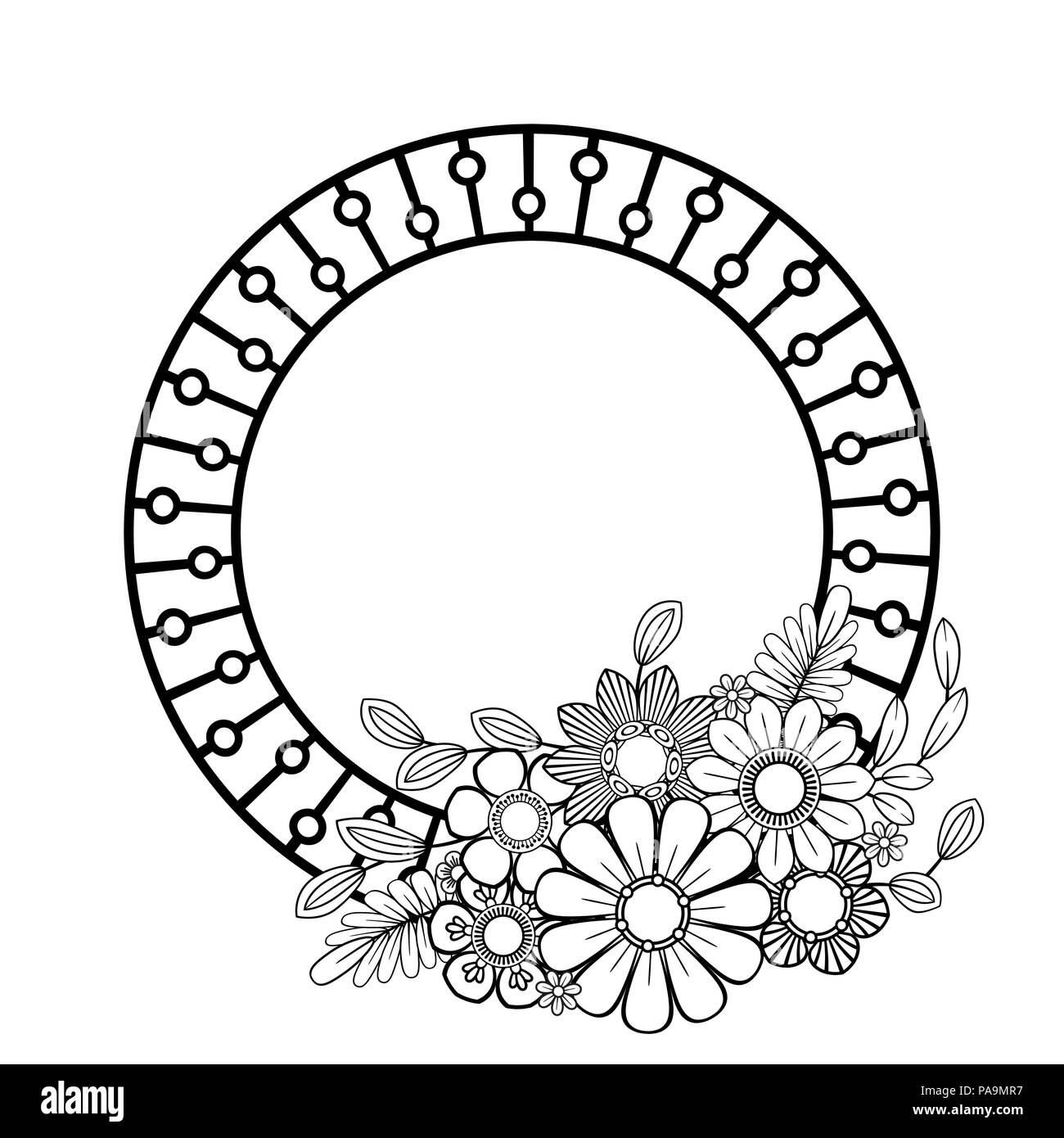 Fiori cornice decorativa. Isolato su sfondo bianco. Floreali ornamento monocromatica. Bianco e nero illustrazione vettoriale. Immagini Stock