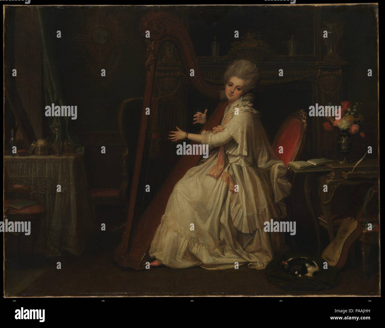 """Marianne Dorothy Harland (1759-1785), poi la sig.ra William Dalrymple. Artista: Richard Cosway (British, Oakford, Devon 1742-1821 Londra). Dimensioni: 28 x 36 1/8 in. (71,1 x 91,8 cm). Cosway era un miniatore di successo. I suoi pochi dipinti ad olio incentrato sulla figura e sono di dimensioni modeste e altamente finito. Questo è stato esposto alla Royal Academy nel 1779 come """"una Signora giocando sulla cetra."""". Museo: Metropolitan Museum of Art di New York, Stati Uniti d'America. Immagini Stock"""
