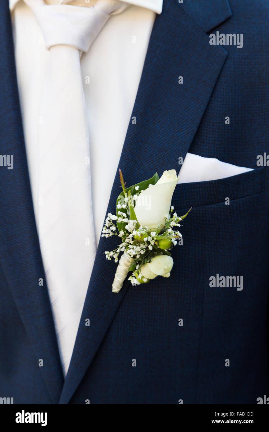 Lo sposo con rose boutonniere sul matrimonio Immagini Stock