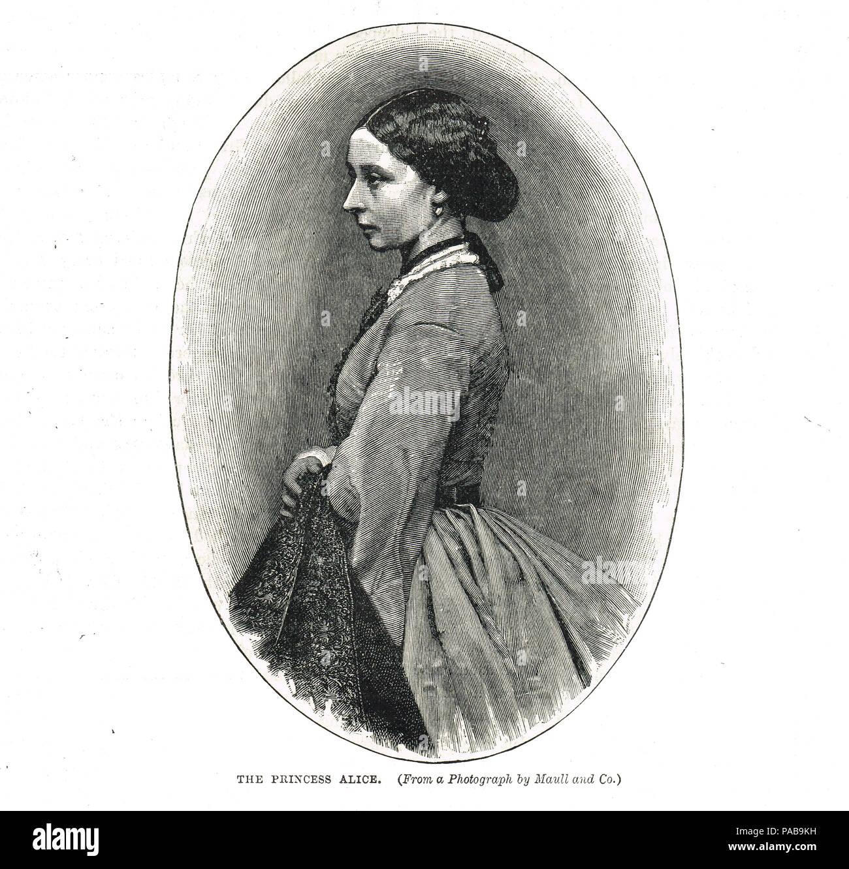 La principessa Alice del Regno Unito, Granduchessa di Hesse e dal Reno, morì di difterite nel 1878, seconda figlia della Regina Vittoria e il Principe Albert Immagini Stock